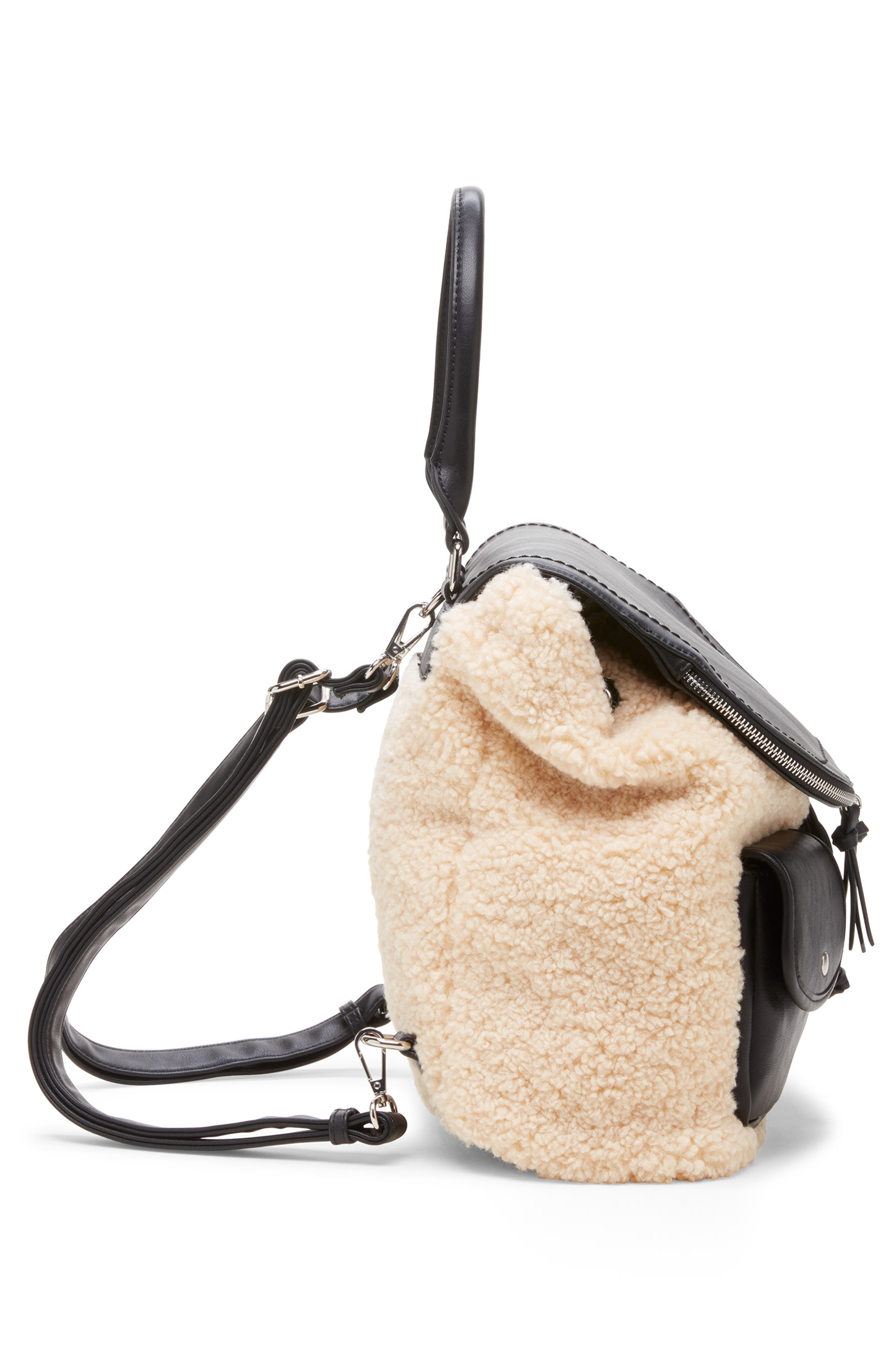 Drury Faux Shearling & Faux Leather Backpack,                             Alternate thumbnail 4, color,                             BLACK COMBO