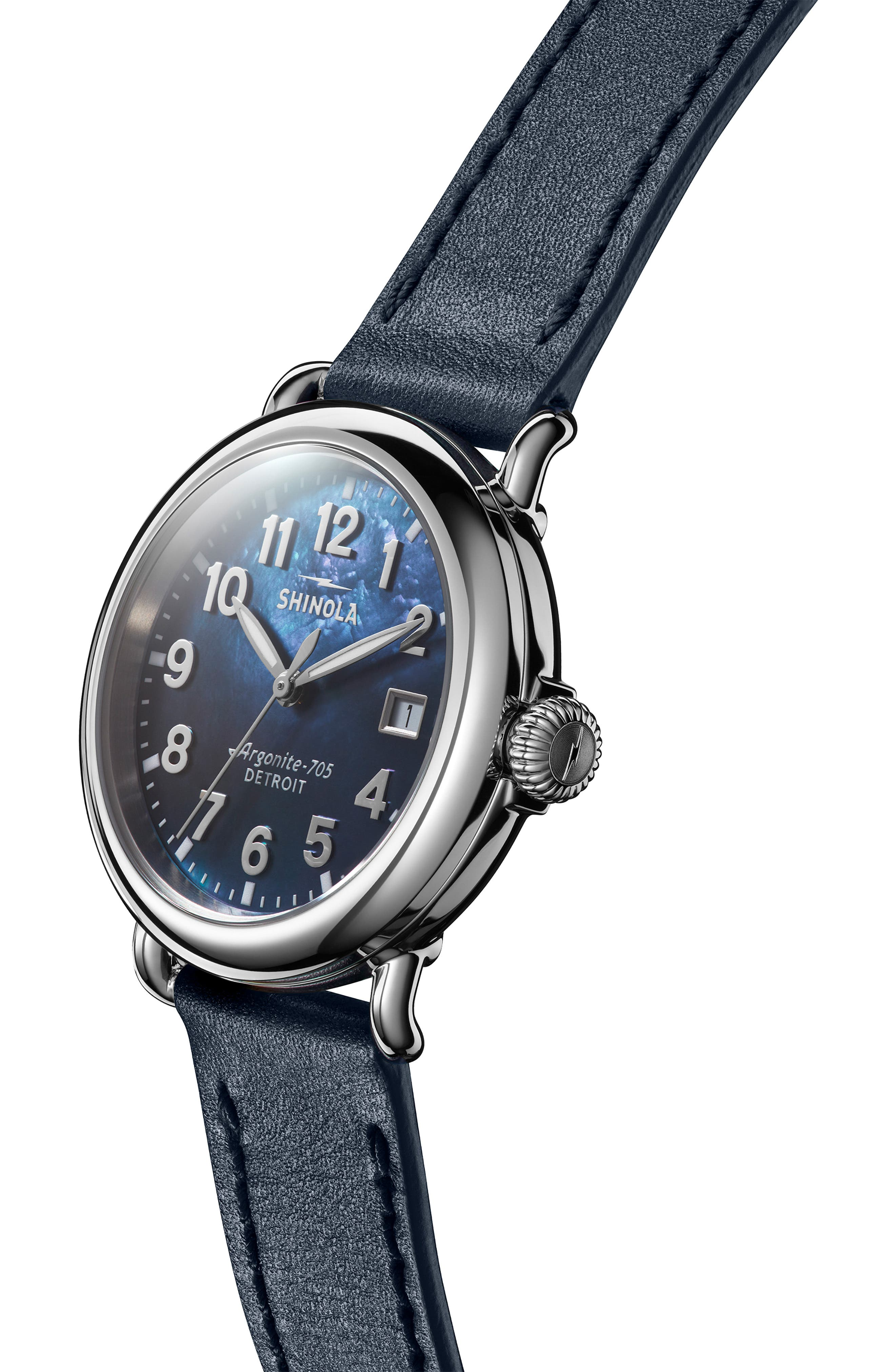 The Runwell Leather Strap Watch, 36mm,                             Alternate thumbnail 5, color,                             OCEAN/ BLUE MOP/ SILVER