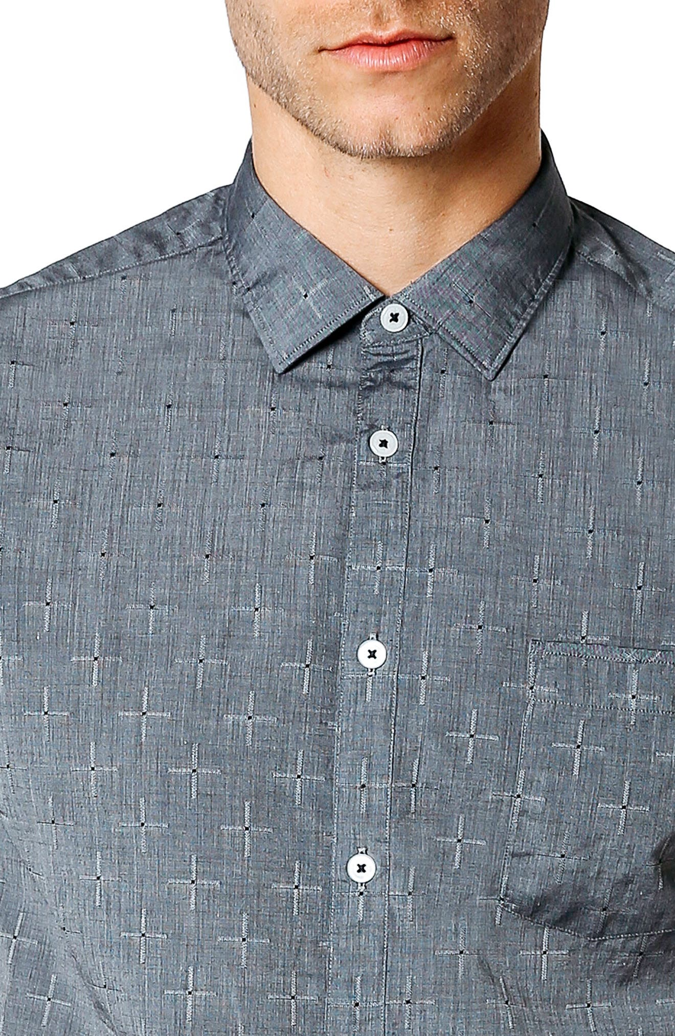 Trim Fit Geometric Short Sleeve Sport Shirt,                             Alternate thumbnail 4, color,                             001
