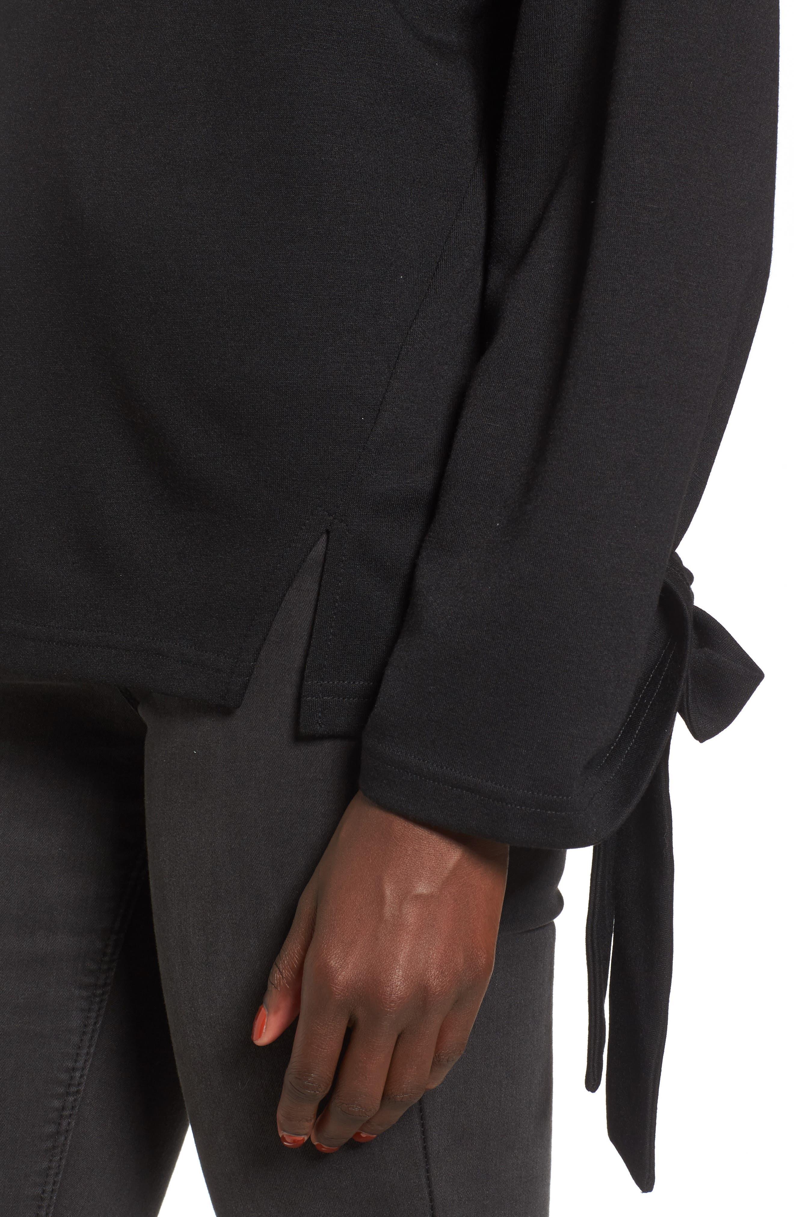 Tie Sleeve Sweater,                             Alternate thumbnail 4, color,                             001