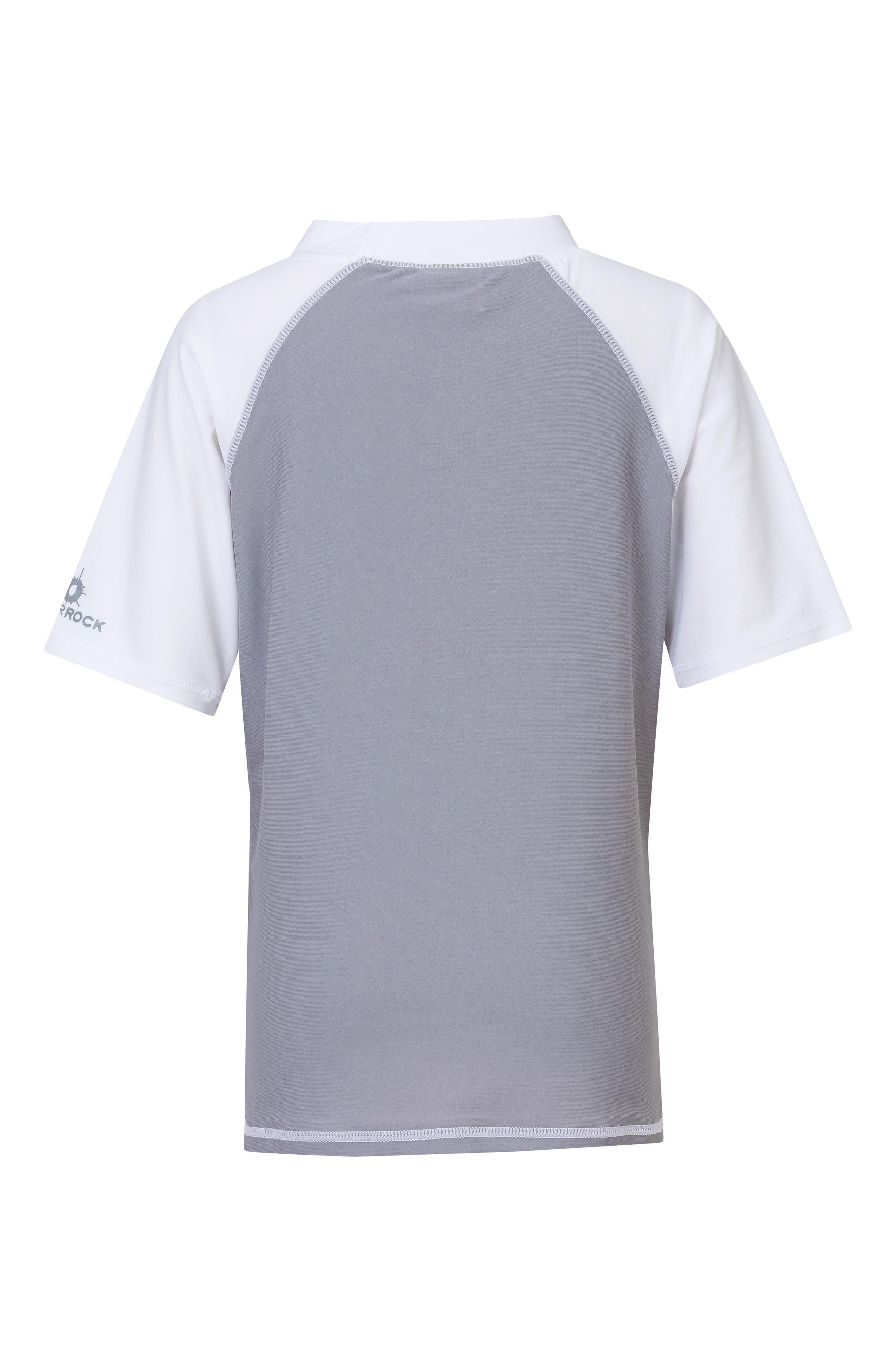 Raglan Short Sleeve Rashguard,                             Alternate thumbnail 2, color,                             GREY/ WHITE