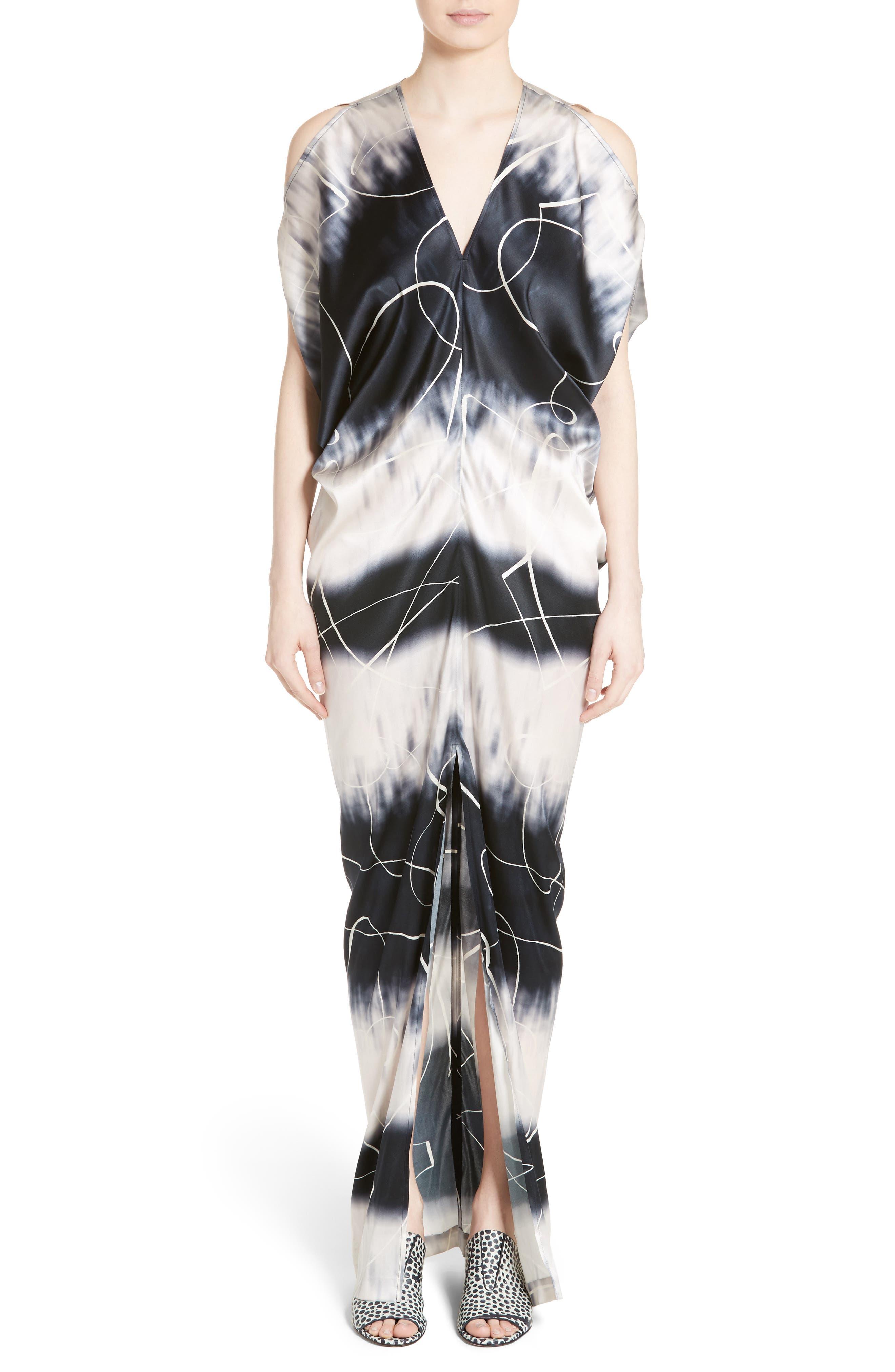 Kou Elliott X-Ray Stretch Silk Dress,                             Main thumbnail 1, color,                             100