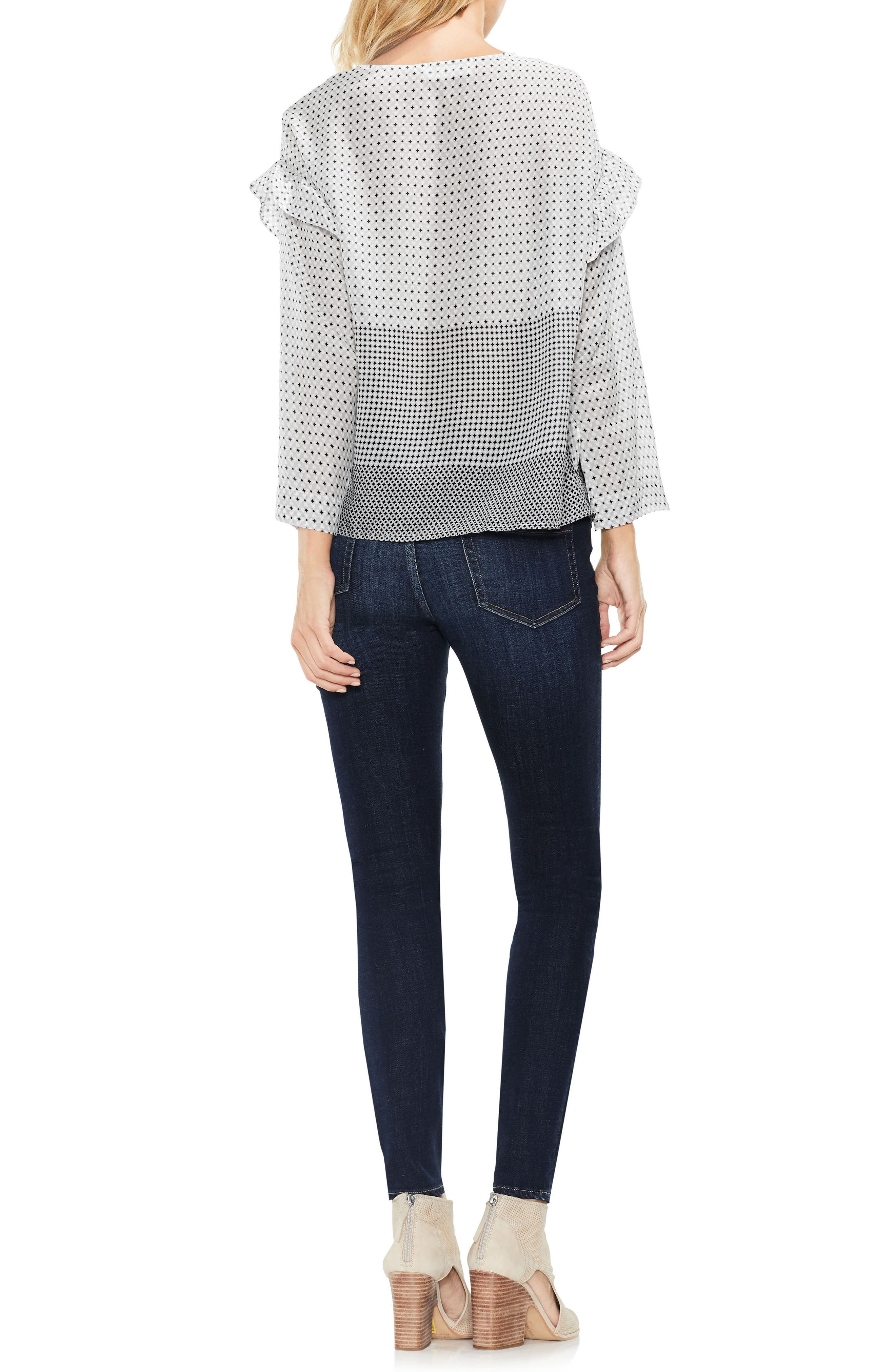 Two by VInce Camuto Quiet Tile Border Ruffle Top,                             Alternate thumbnail 3, color,                             063