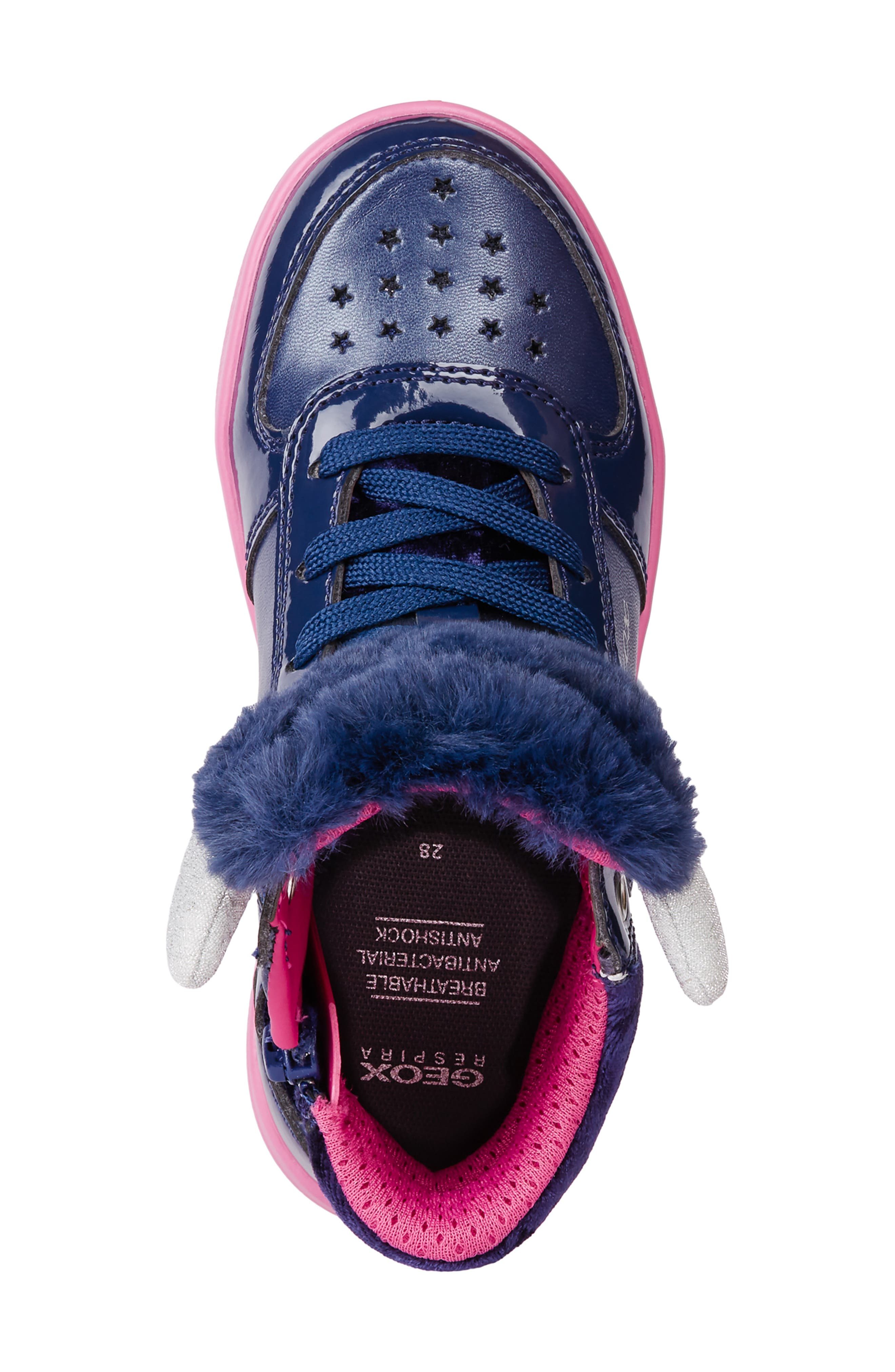 DJ Rock Fuzzy Friend Sneaker,                             Alternate thumbnail 5, color,                             NAVY/FUCHSIA
