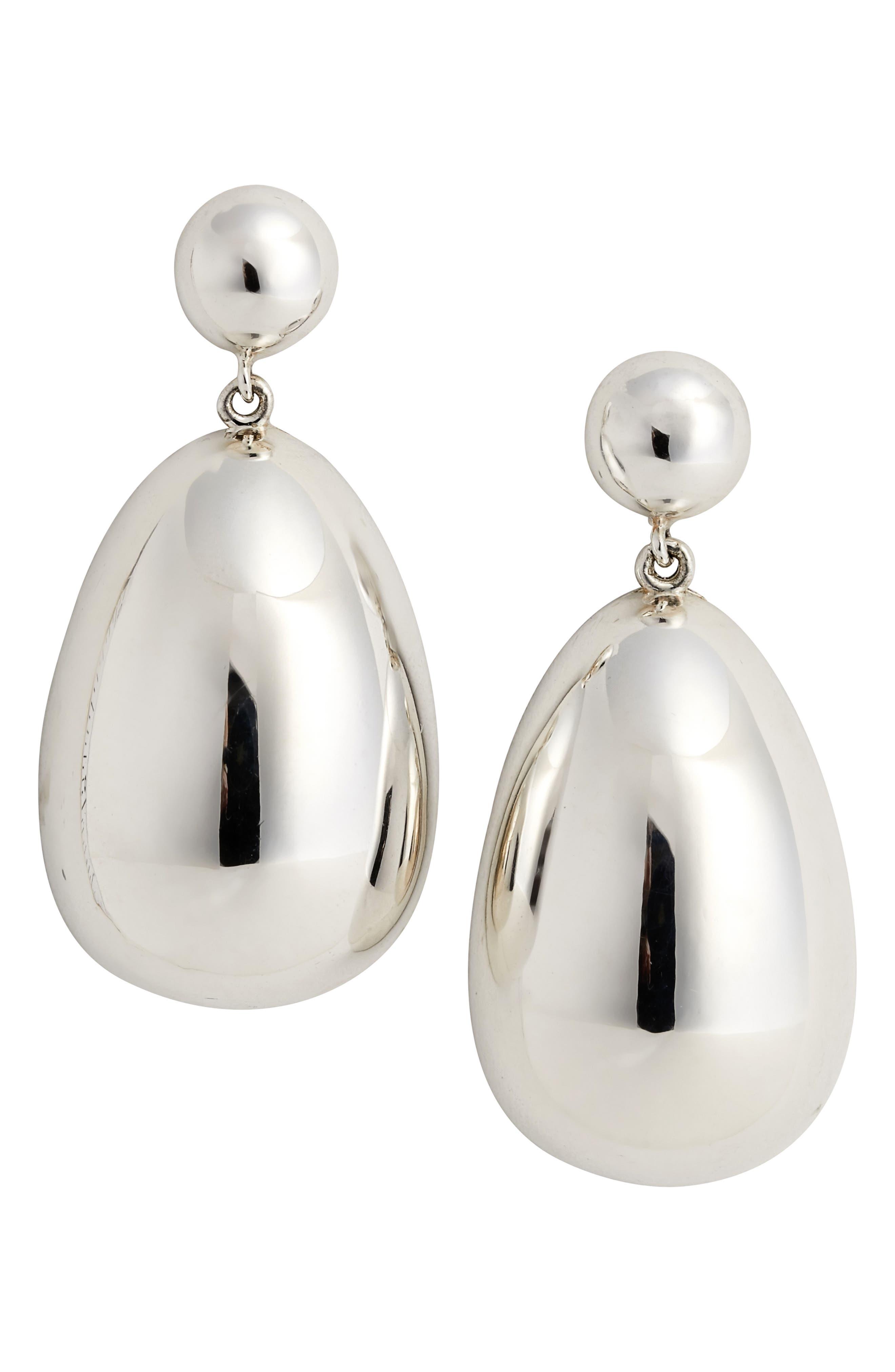 Silver Egg Drop Earrings,                             Main thumbnail 1, color,                             040