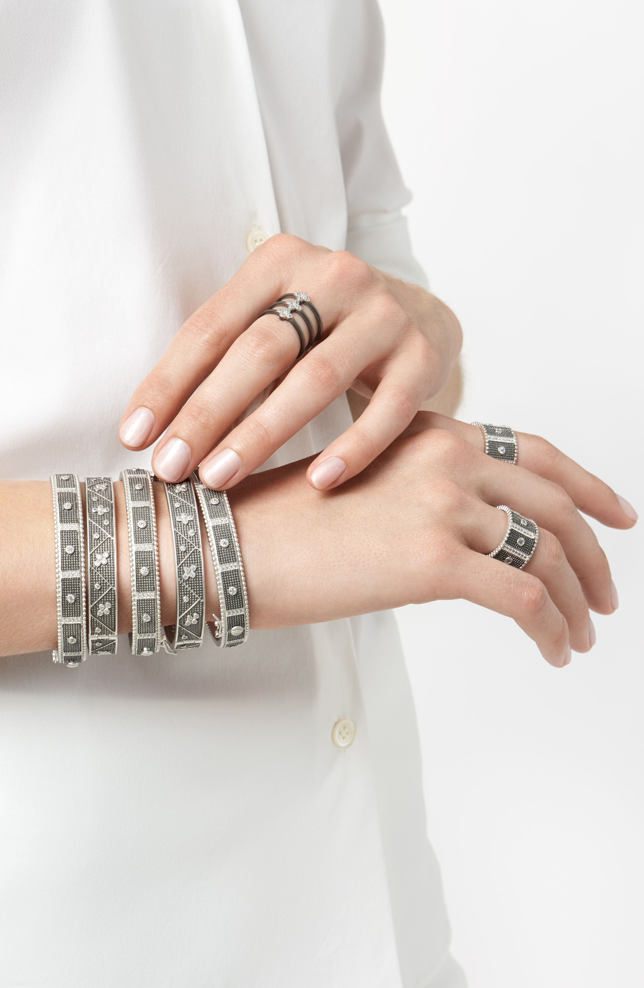 Industrial Finish Bangle Bracelet,                             Alternate thumbnail 3, color,                             BLACK/ SILVER