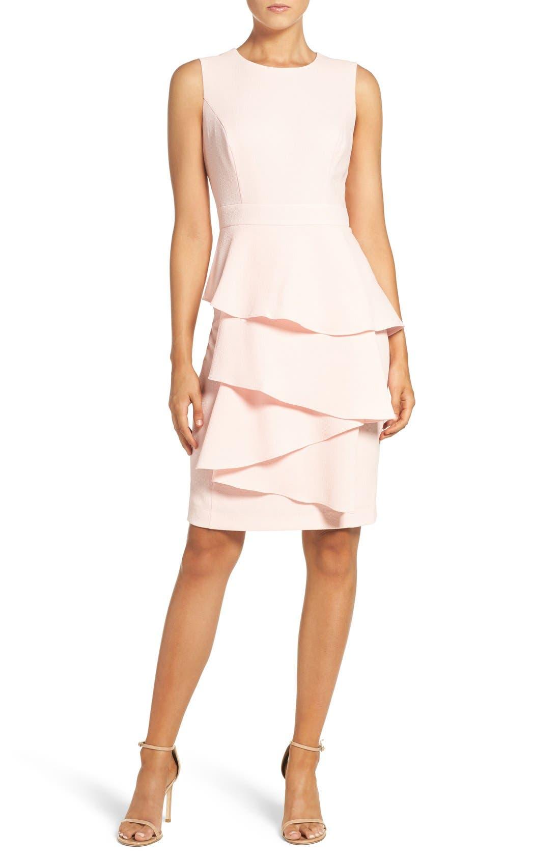 Ella Cascade Crepe Sheath Dress,                             Alternate thumbnail 7, color,                             BLUSH
