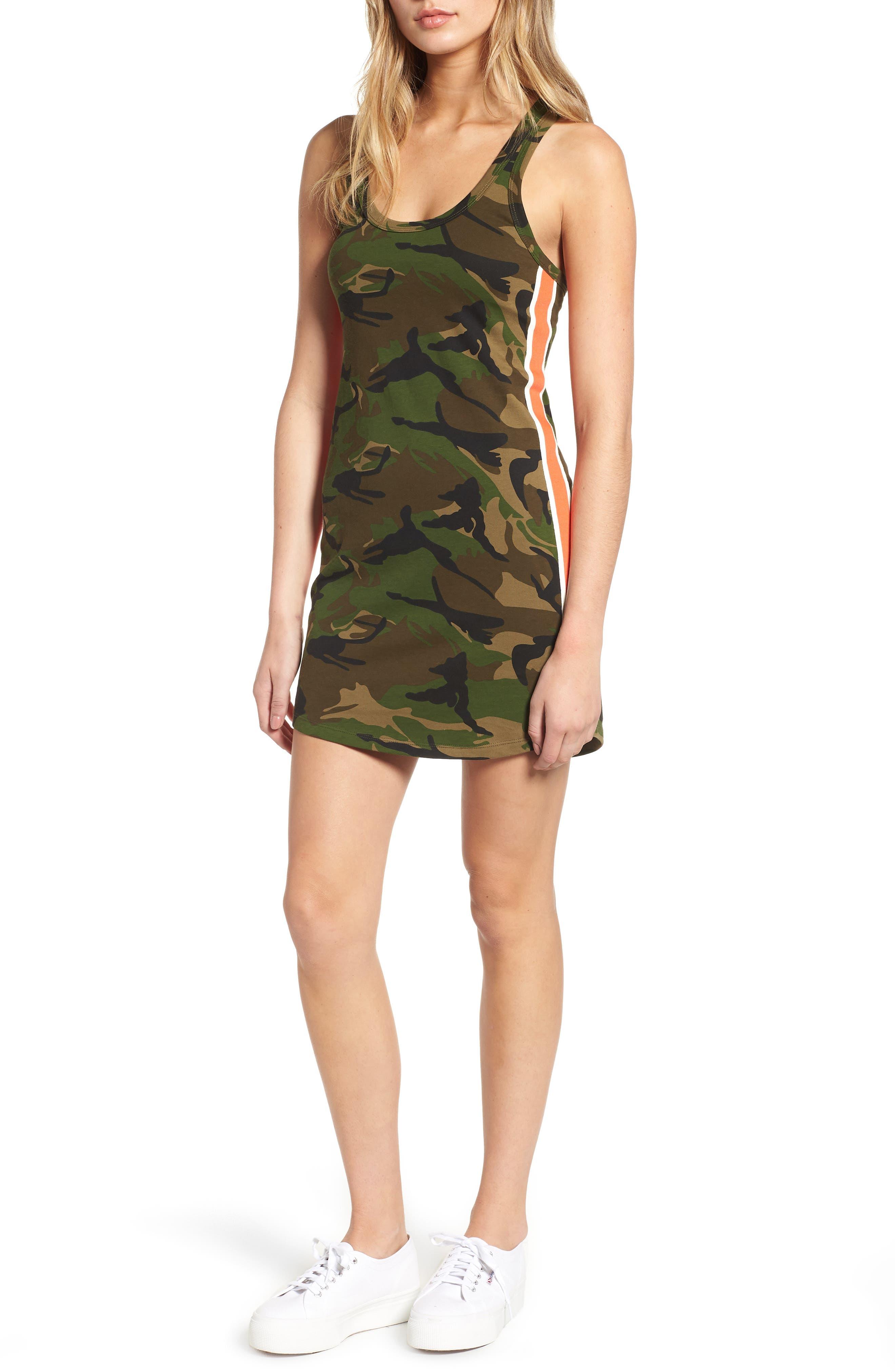 Pam & Gela Camo Print Tank Dress, Green
