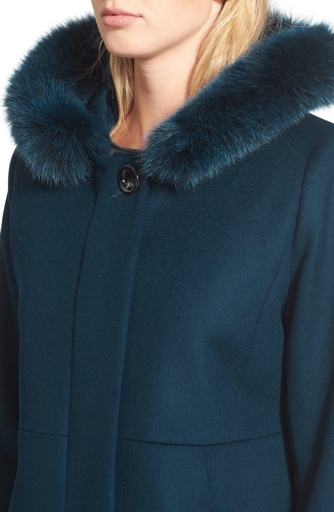 Genuine Fox Fur Trim Hooded Wool Blend Coat,                             Alternate thumbnail 15, color,