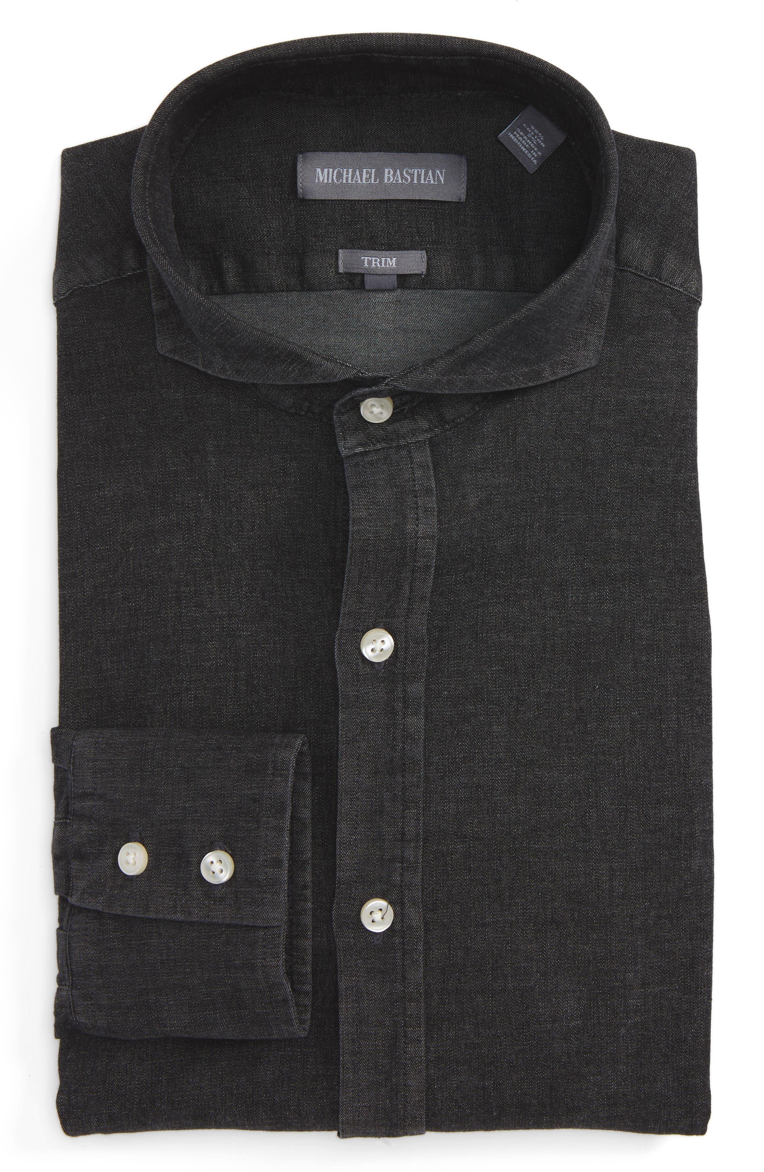 Trim Fit Chambray Shirt,                             Main thumbnail 1, color,                             001