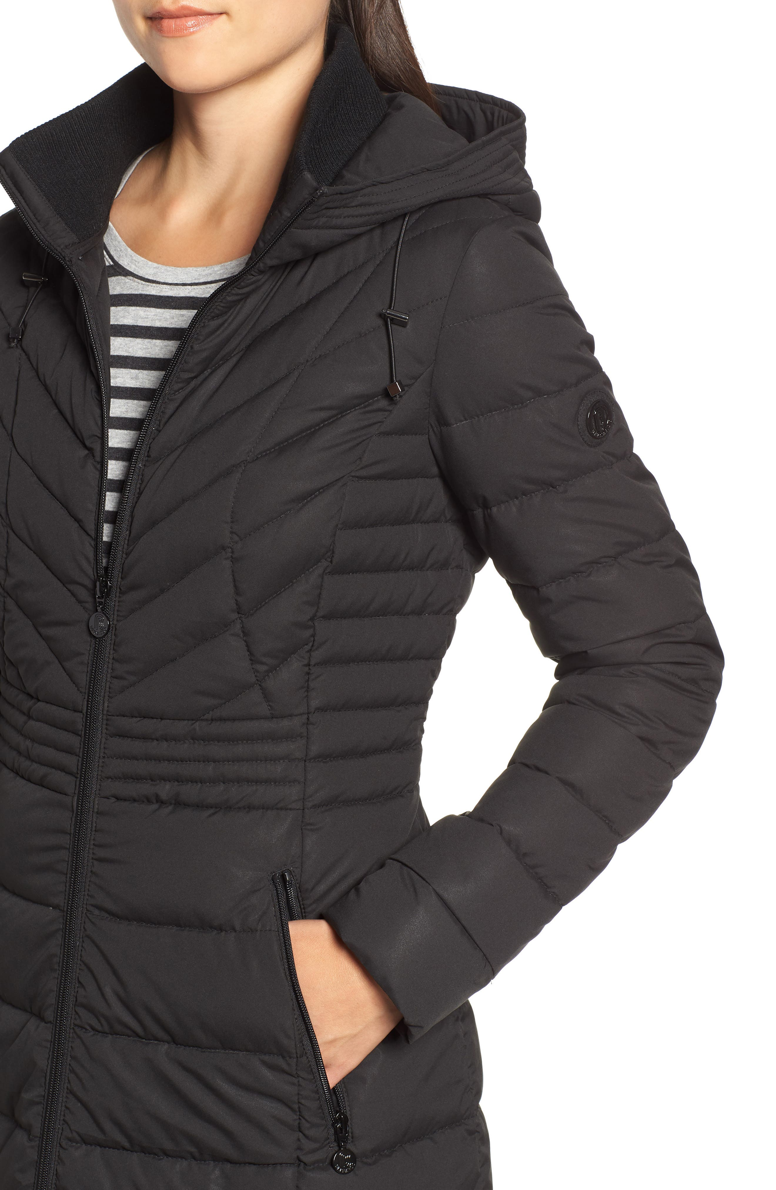 Stretch Quilted Walker Coat,                             Alternate thumbnail 4, color,                             001