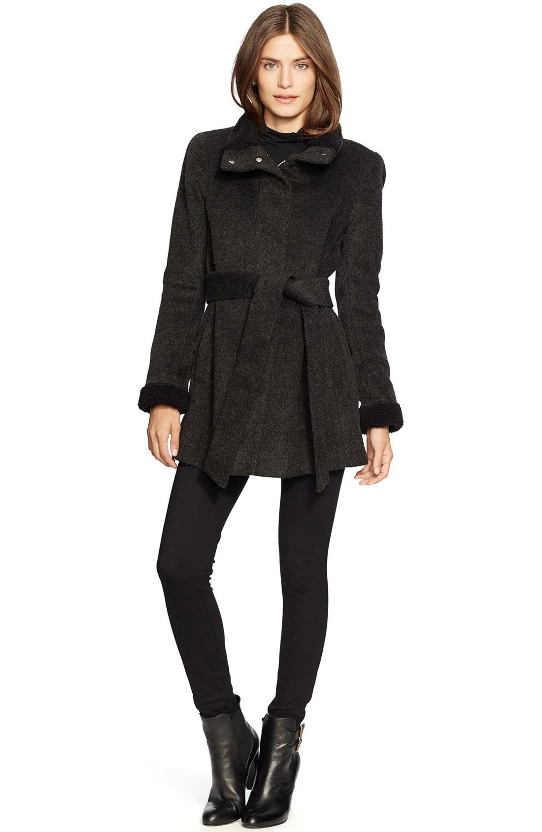 LAUREN RALPH LAUREN,                             Faux Shearling Trim Belted Wool Blend Coat,                             Main thumbnail 1, color,                             001