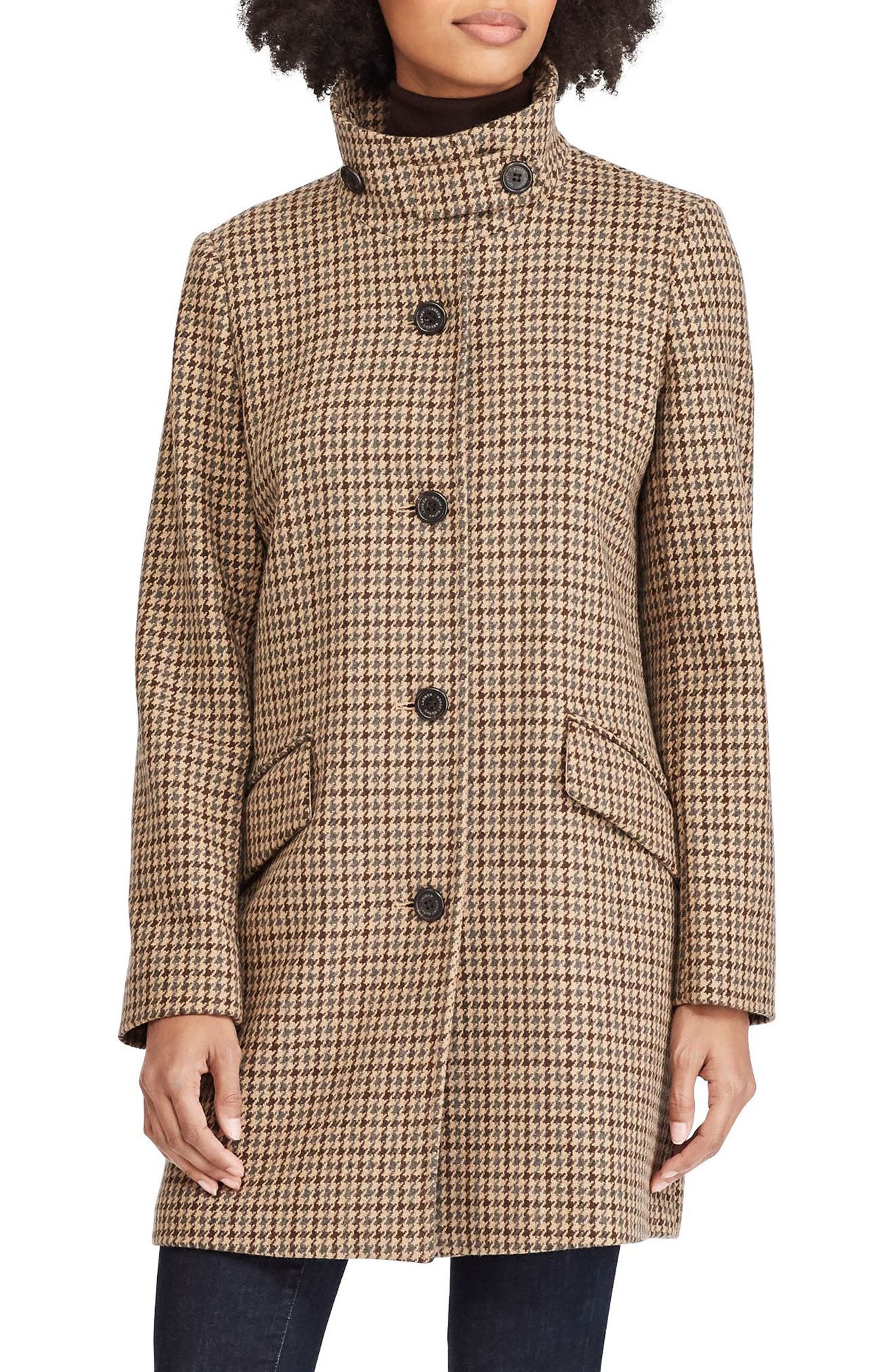 Houndstooth Check Coat, Main, color, 070