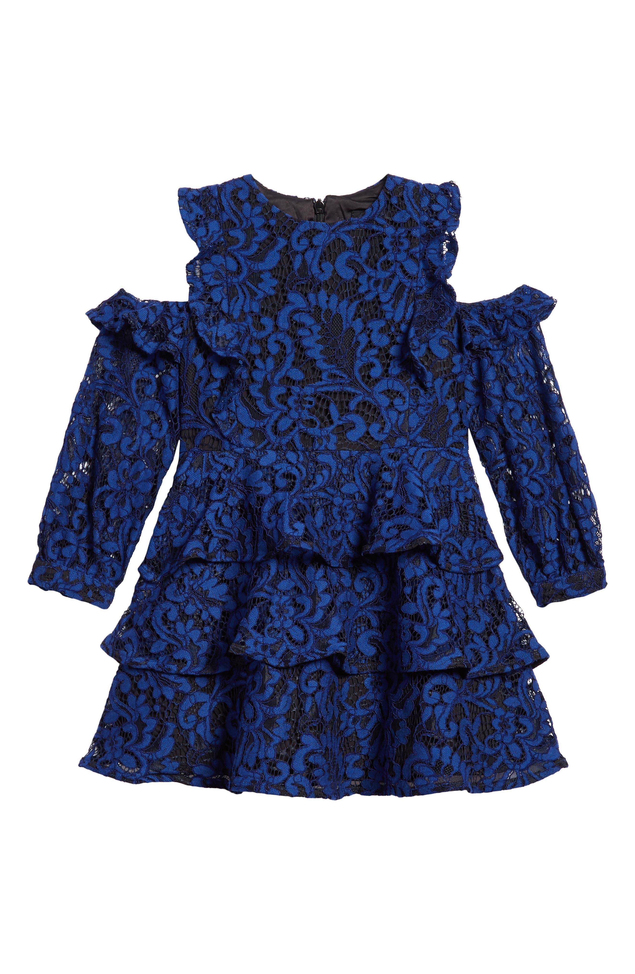 Ruffle Lace Cold Shoulder Dress,                             Main thumbnail 1, color,                             412