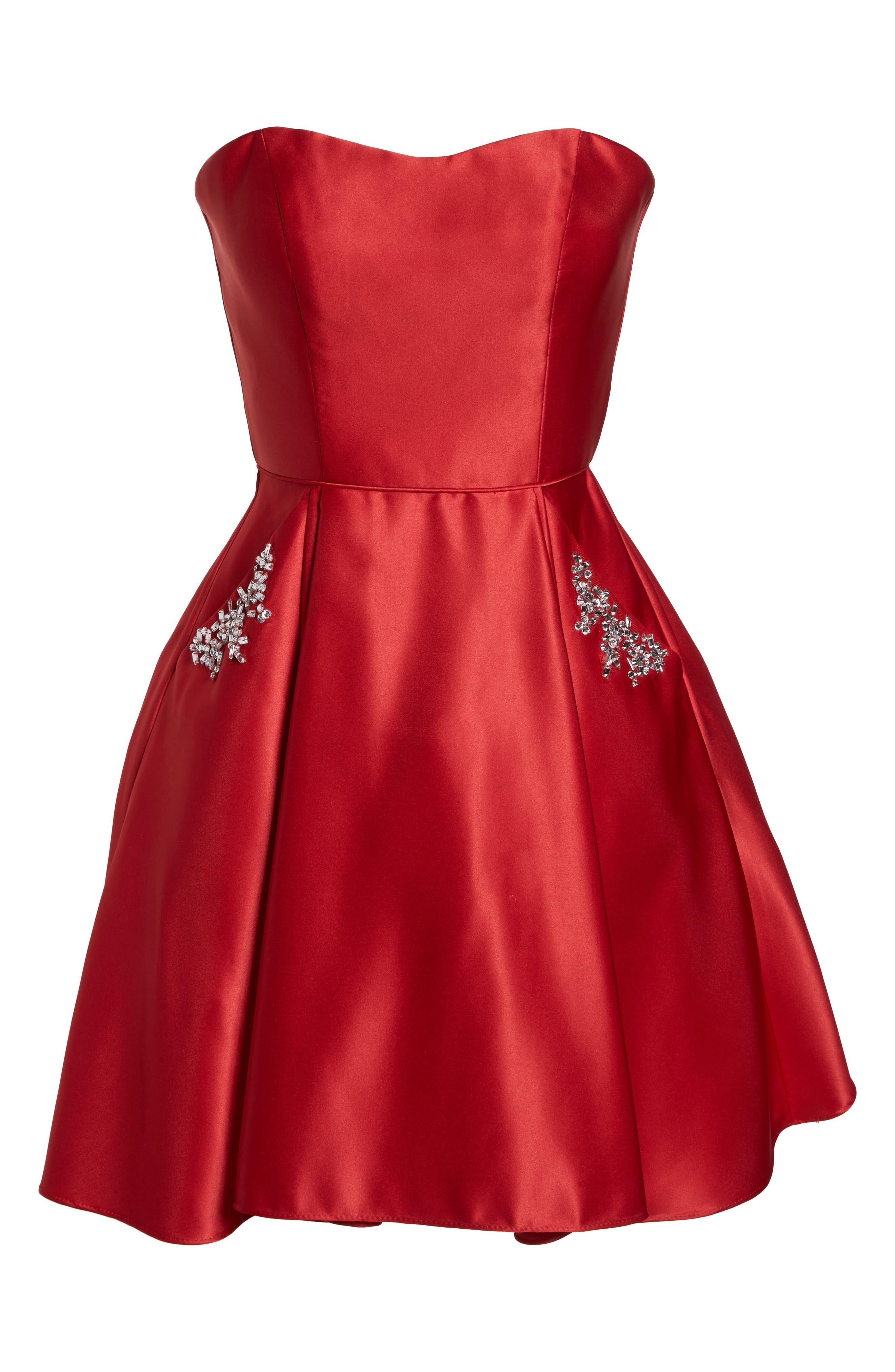 Strapless Satin Fit & Flare Party Dress,                             Alternate thumbnail 6, color,                             RED