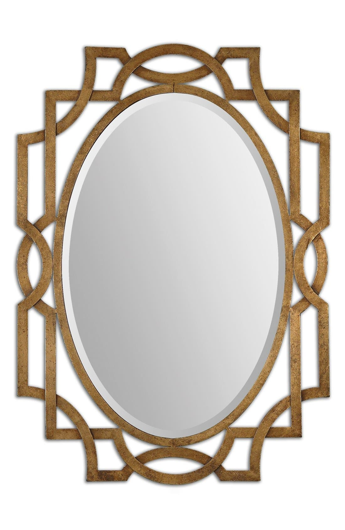 'Margutta' Antiqued Goldtone Oval Mirror,                             Main thumbnail 1, color,                             710