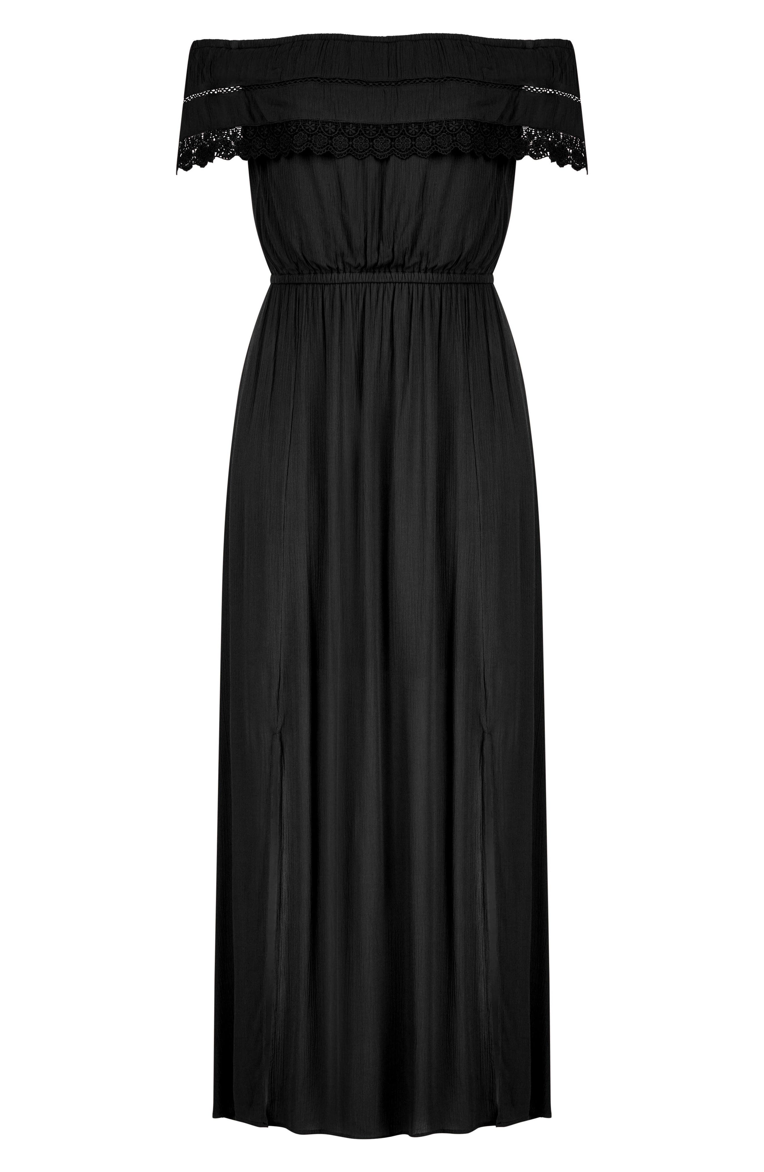 Off the Shoulder Maxi Dress,                             Alternate thumbnail 3, color,                             BLACK