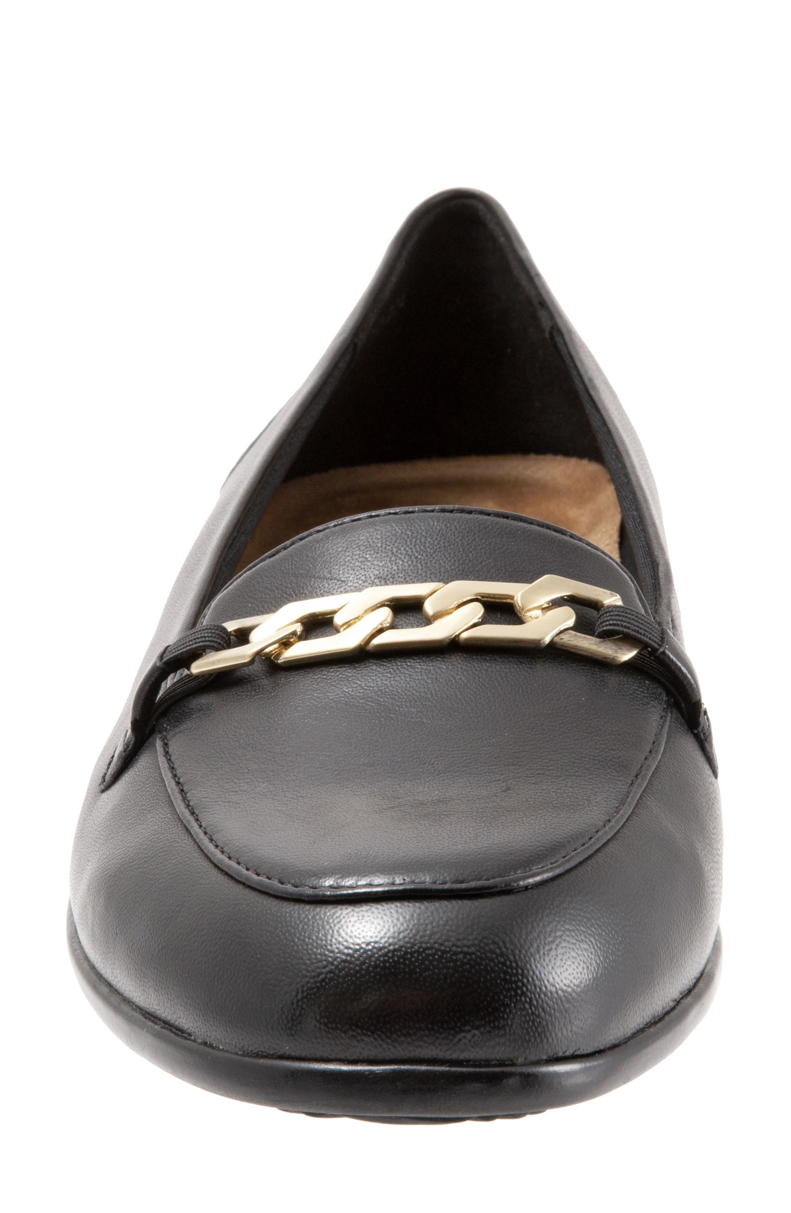 Anastasia Flat,                             Alternate thumbnail 4, color,                             DARK BLACK LEATHER