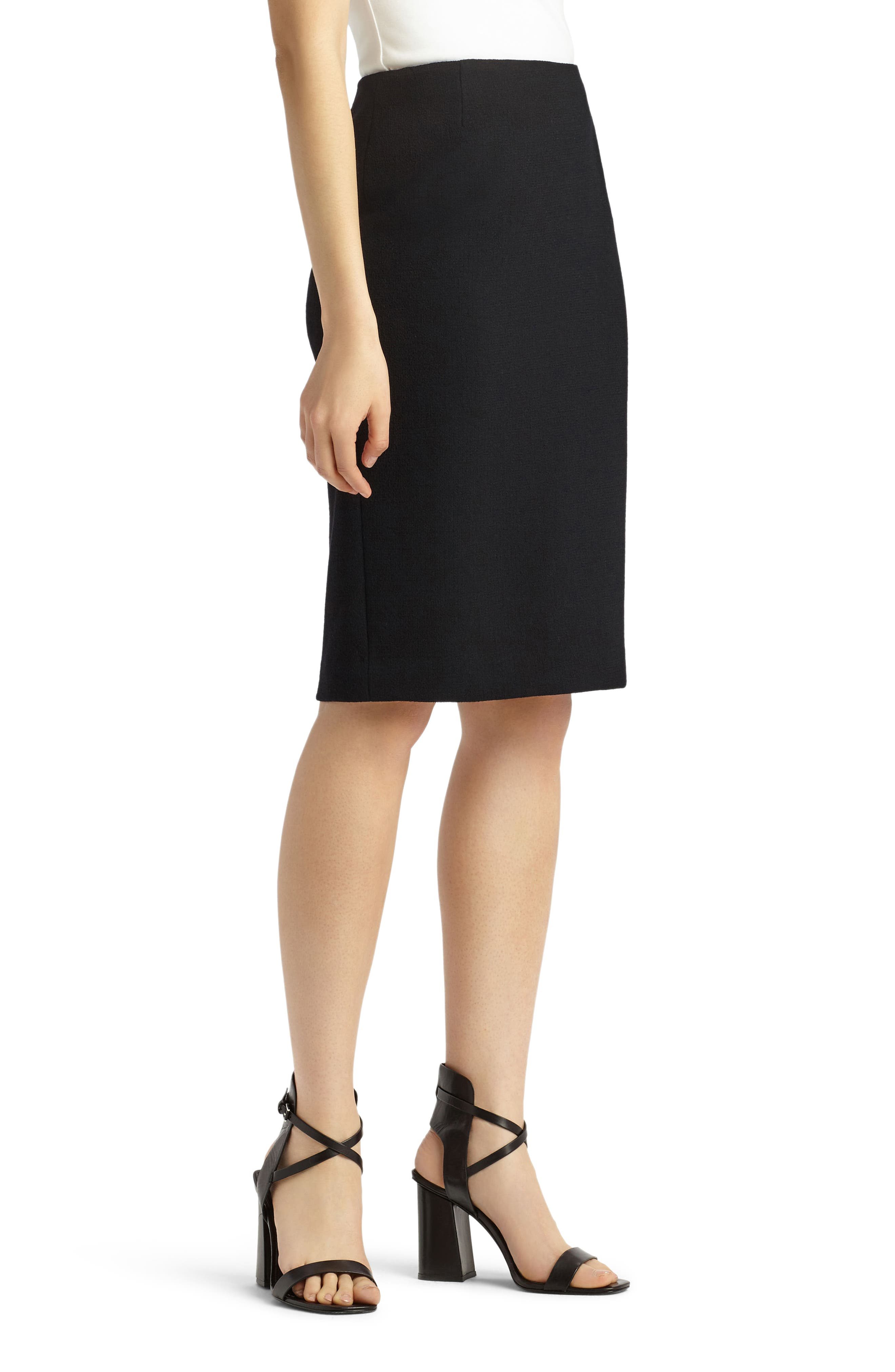 Pencil Skirt with Back Vent,                             Alternate thumbnail 3, color,                             001