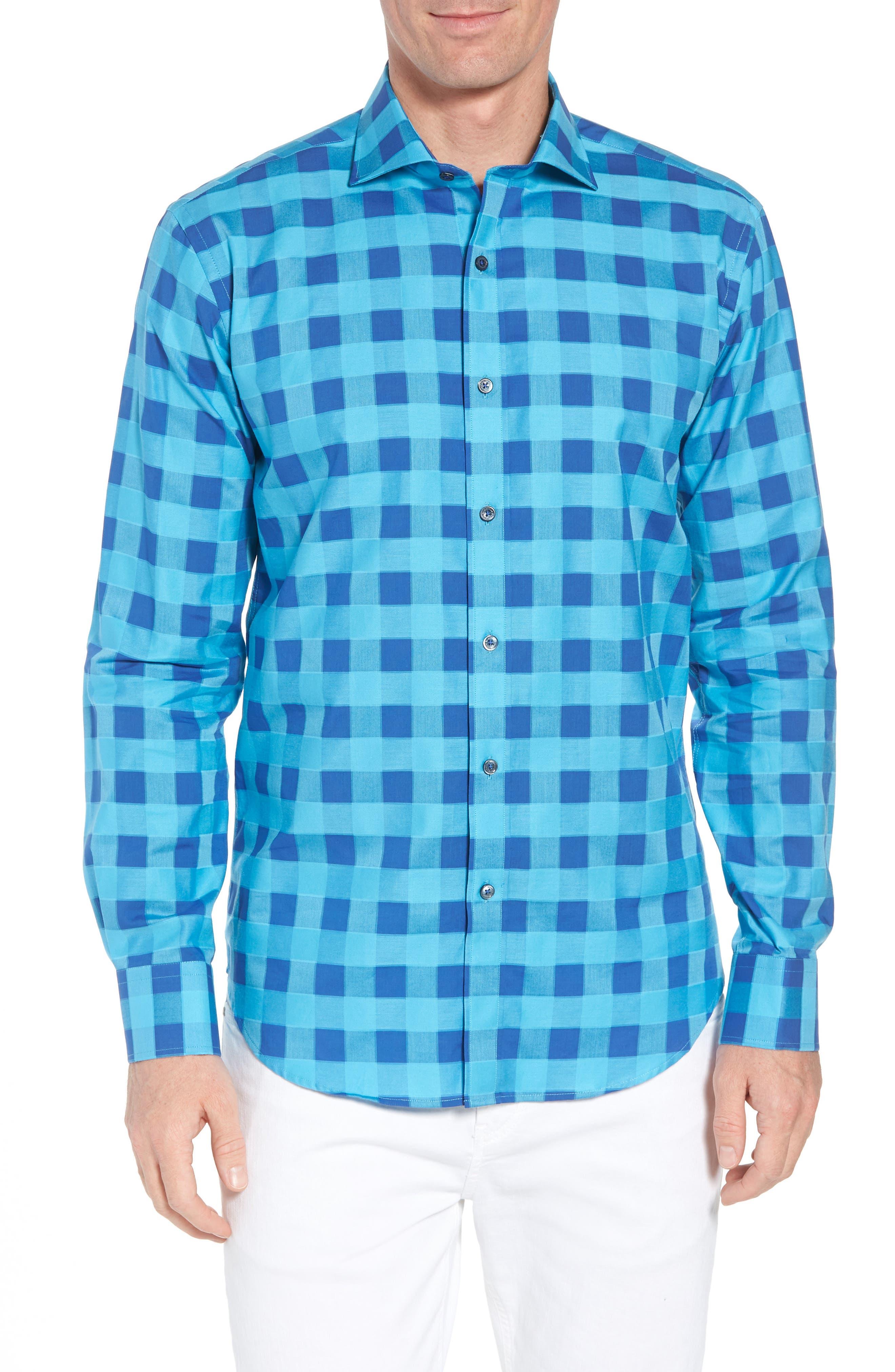 Shaped Fit Check Sport Shirt,                             Main thumbnail 1, color,                             425