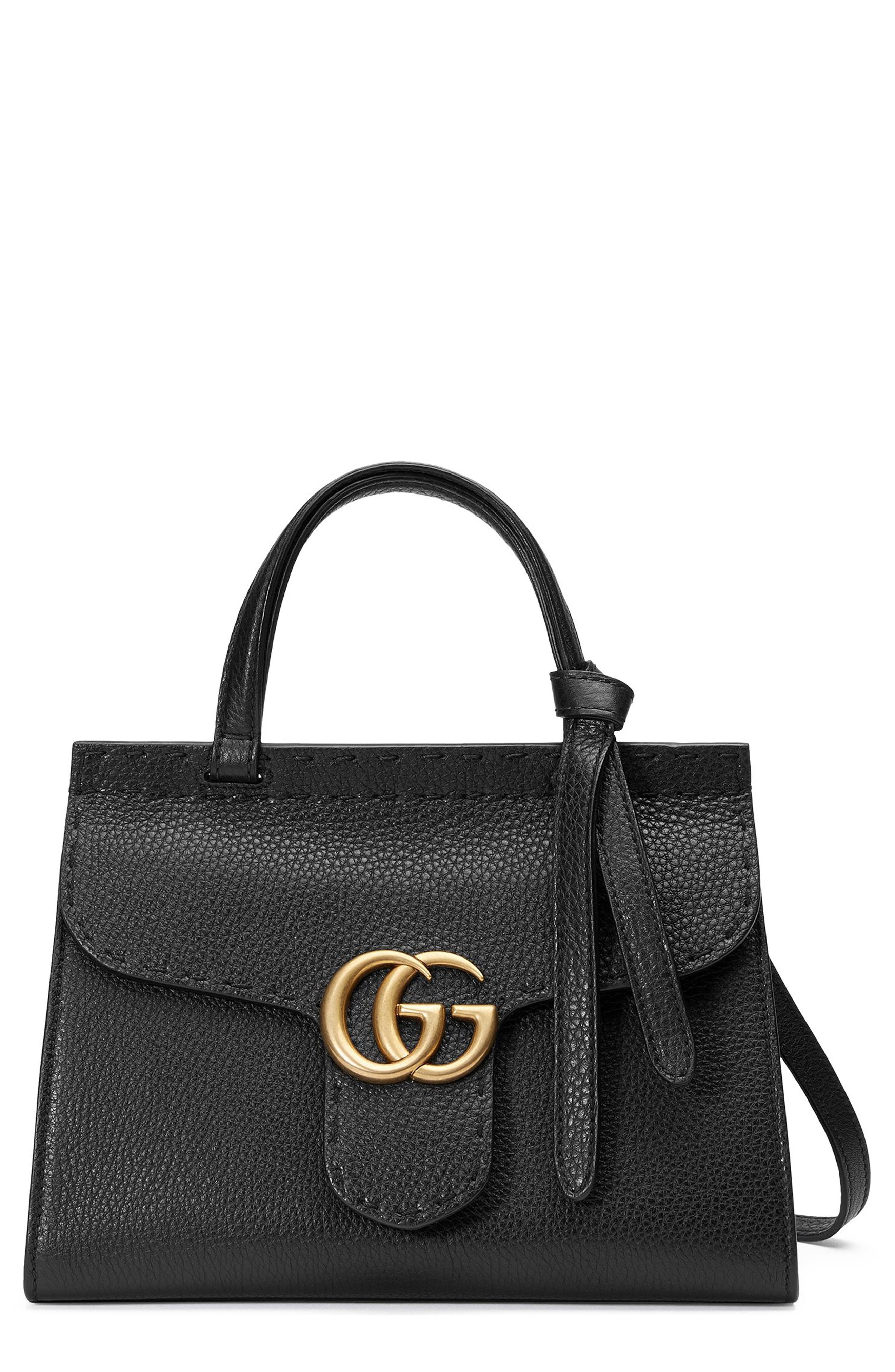 Small GG Marmont Top Handle Satchel,                         Main,                         color, 001