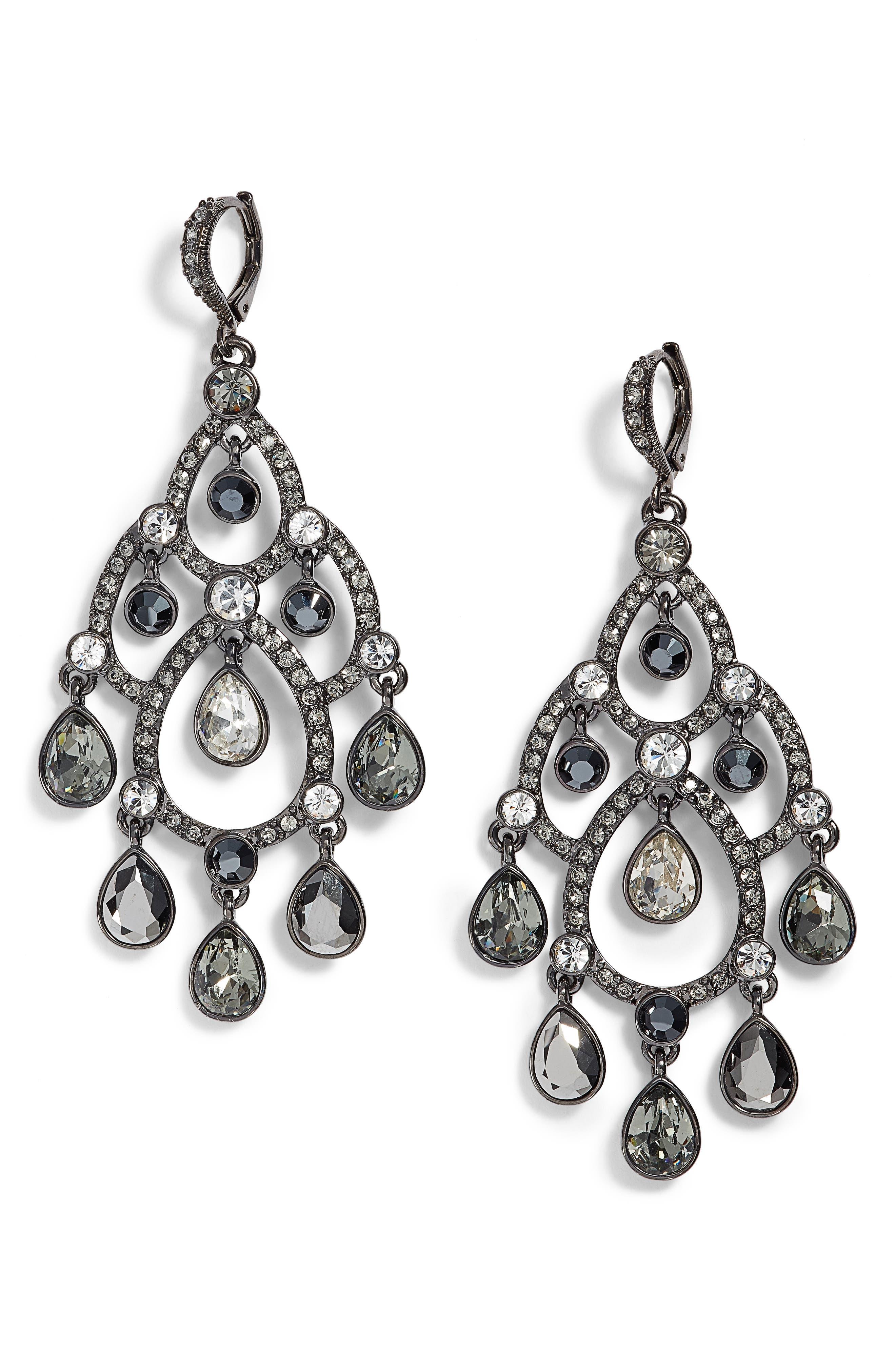 Open Crystal Chandelier Earrings,                             Main thumbnail 1, color,