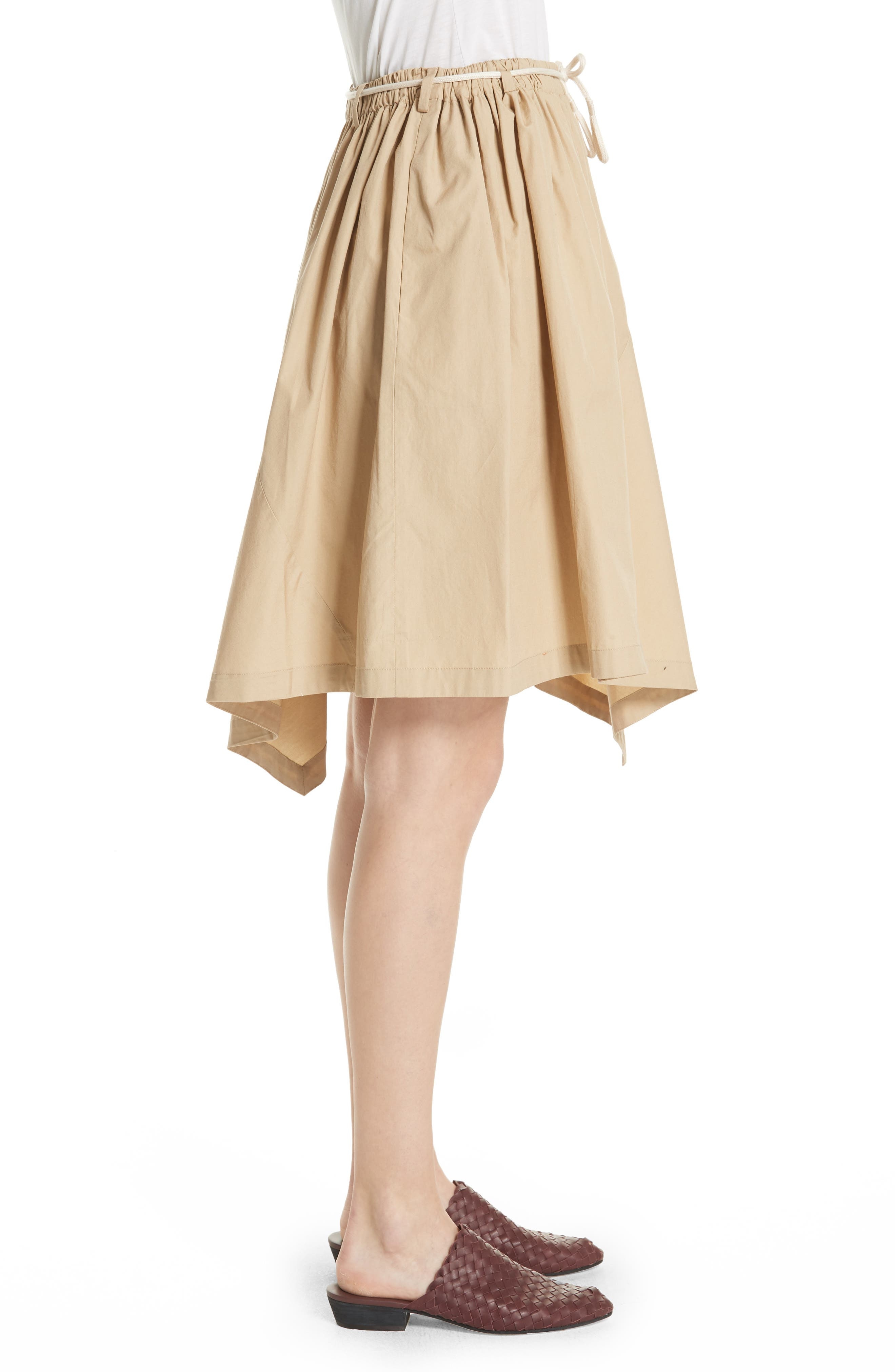 Asymmetrical Drawstring Cotton Skirt,                             Alternate thumbnail 3, color,                             KHAKI
