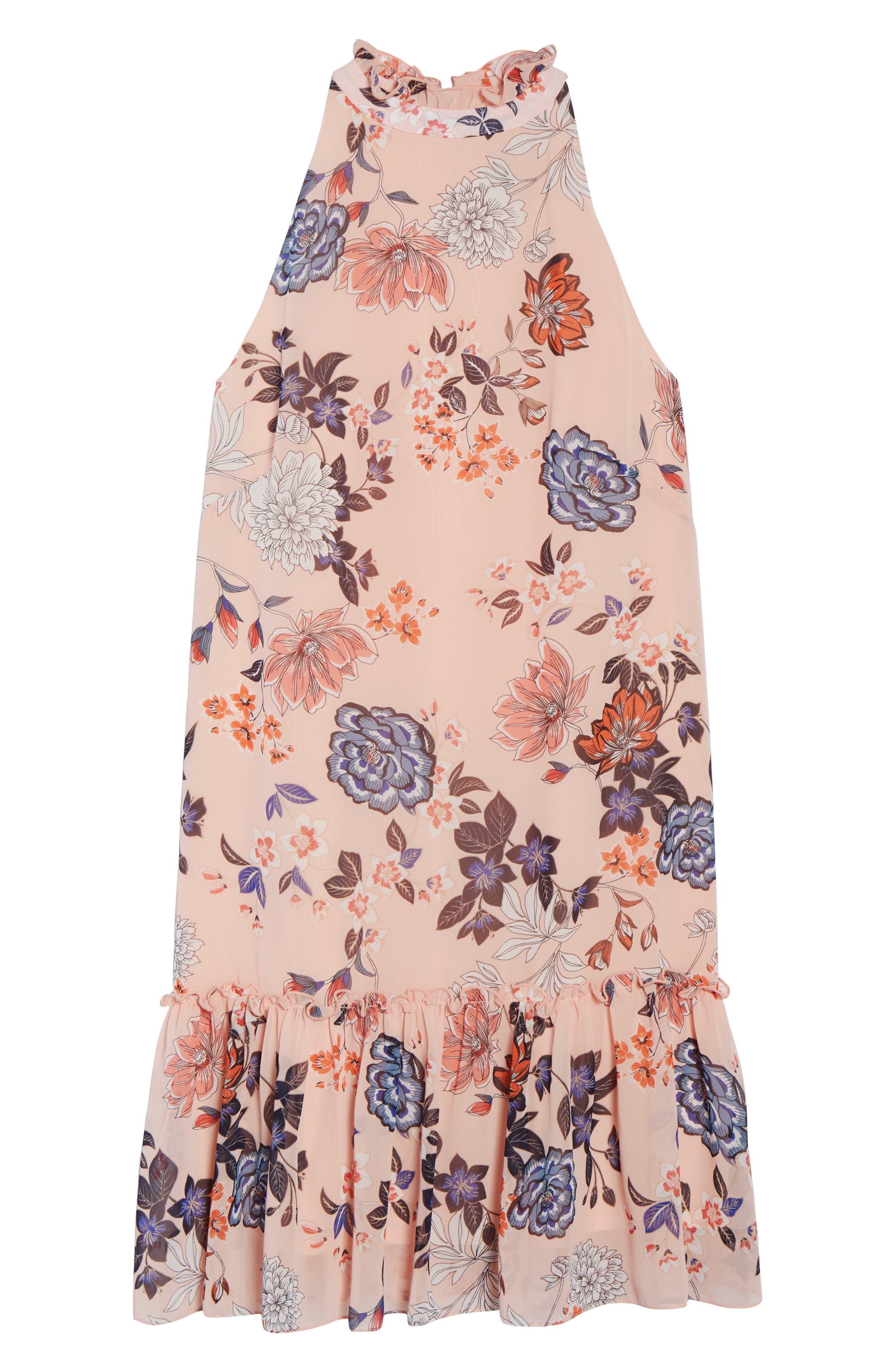 Floral Ruffle Neck Chiffon Shift Dress,                             Alternate thumbnail 7, color,                             BLUSH