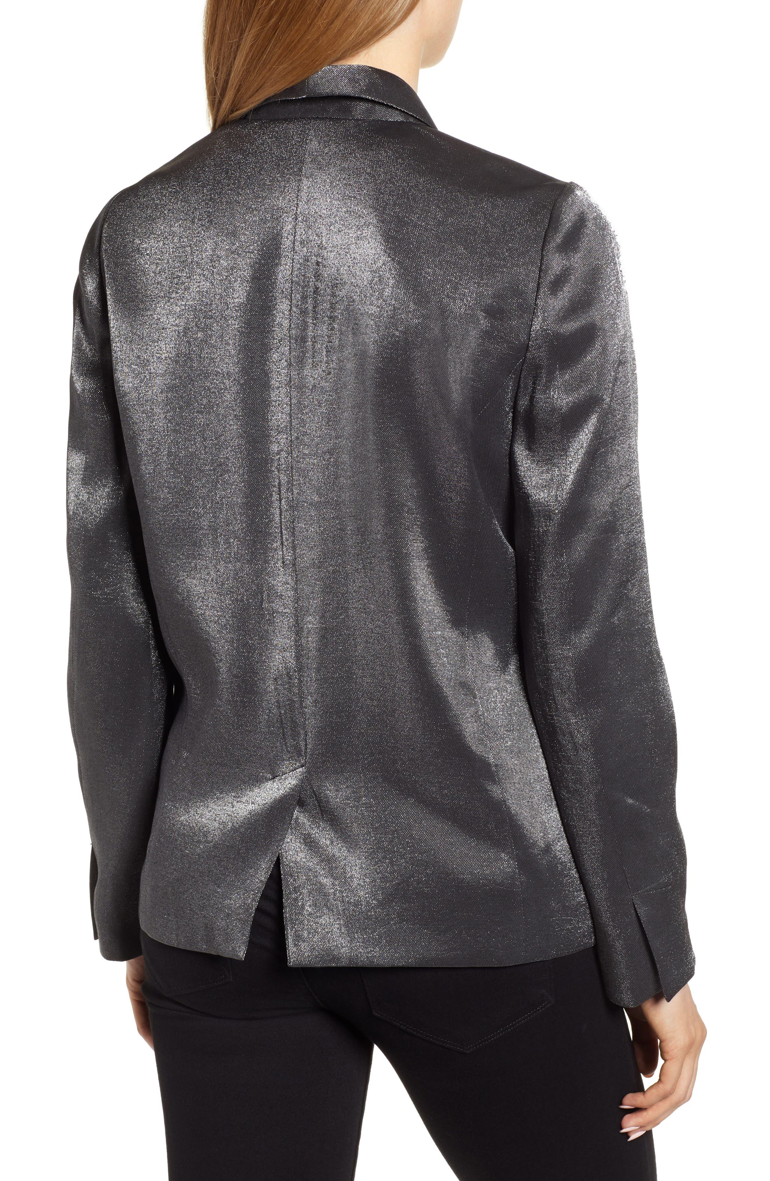 Shimmery Blazer,                             Alternate thumbnail 2, color,                             BLACK METALLIC