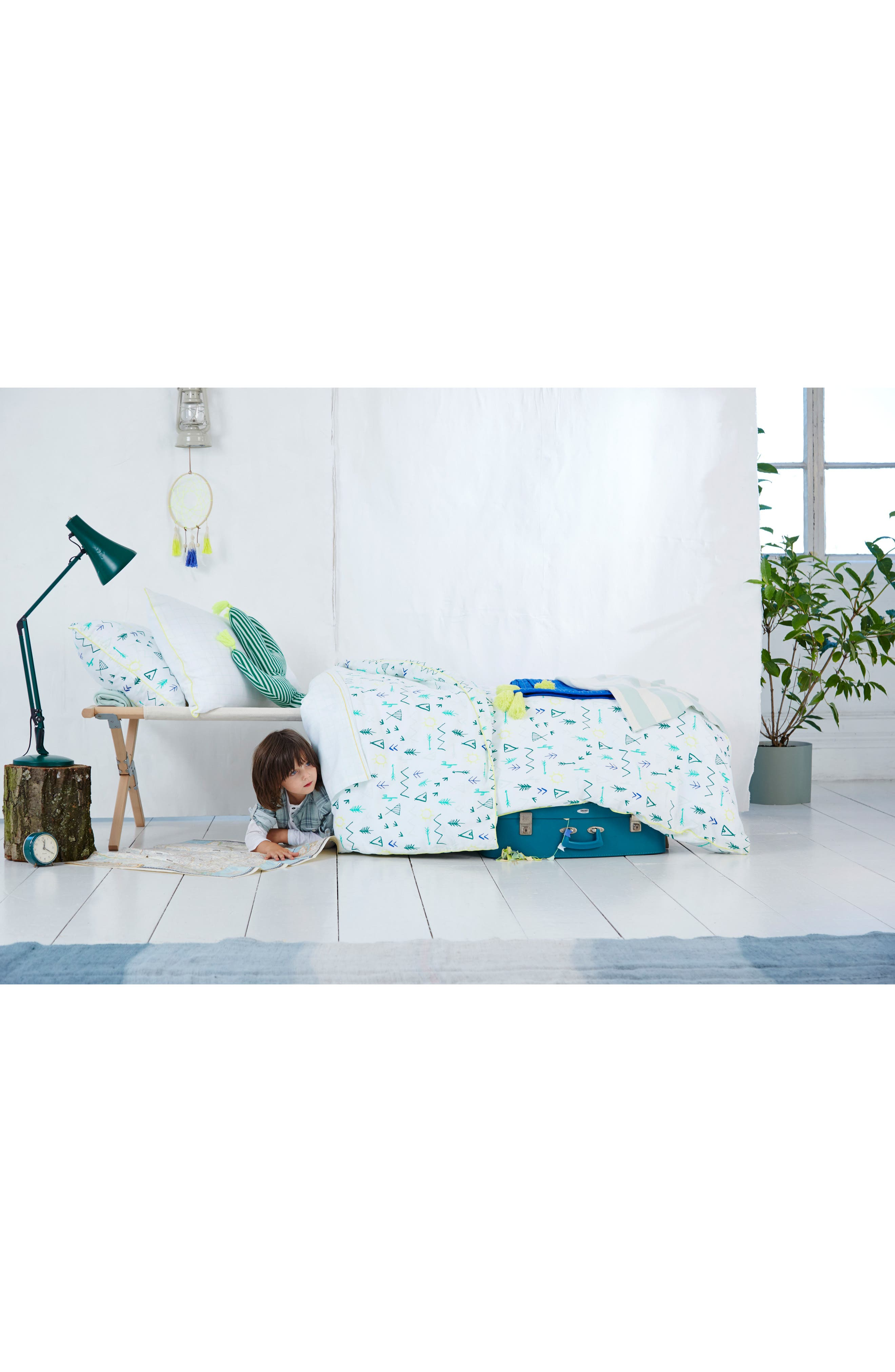 Organic Cotton Quilted Blanket,                             Alternate thumbnail 4, color,                             BLUE