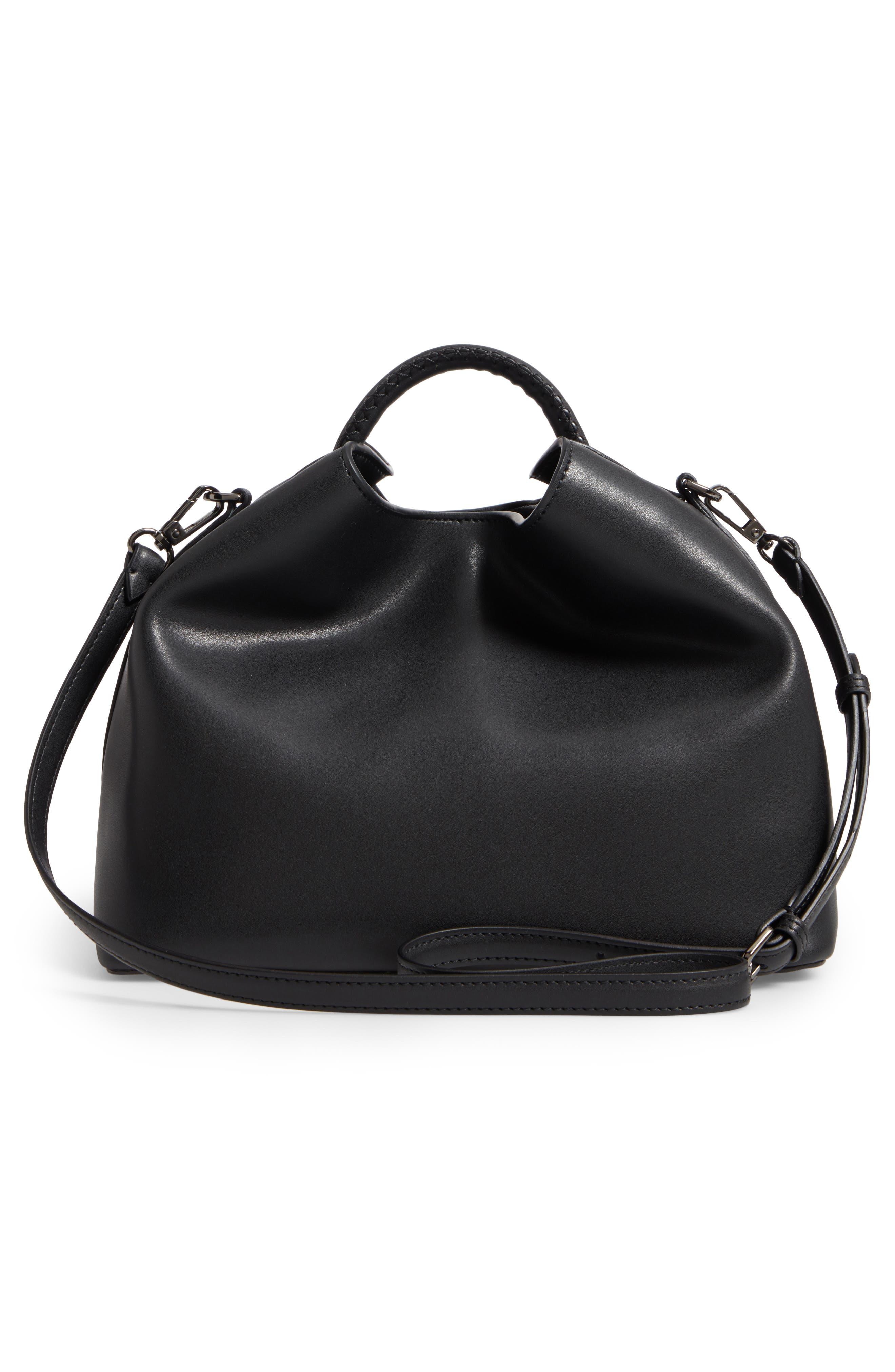 Raisin Leather Handbag,                             Alternate thumbnail 3, color,                             001