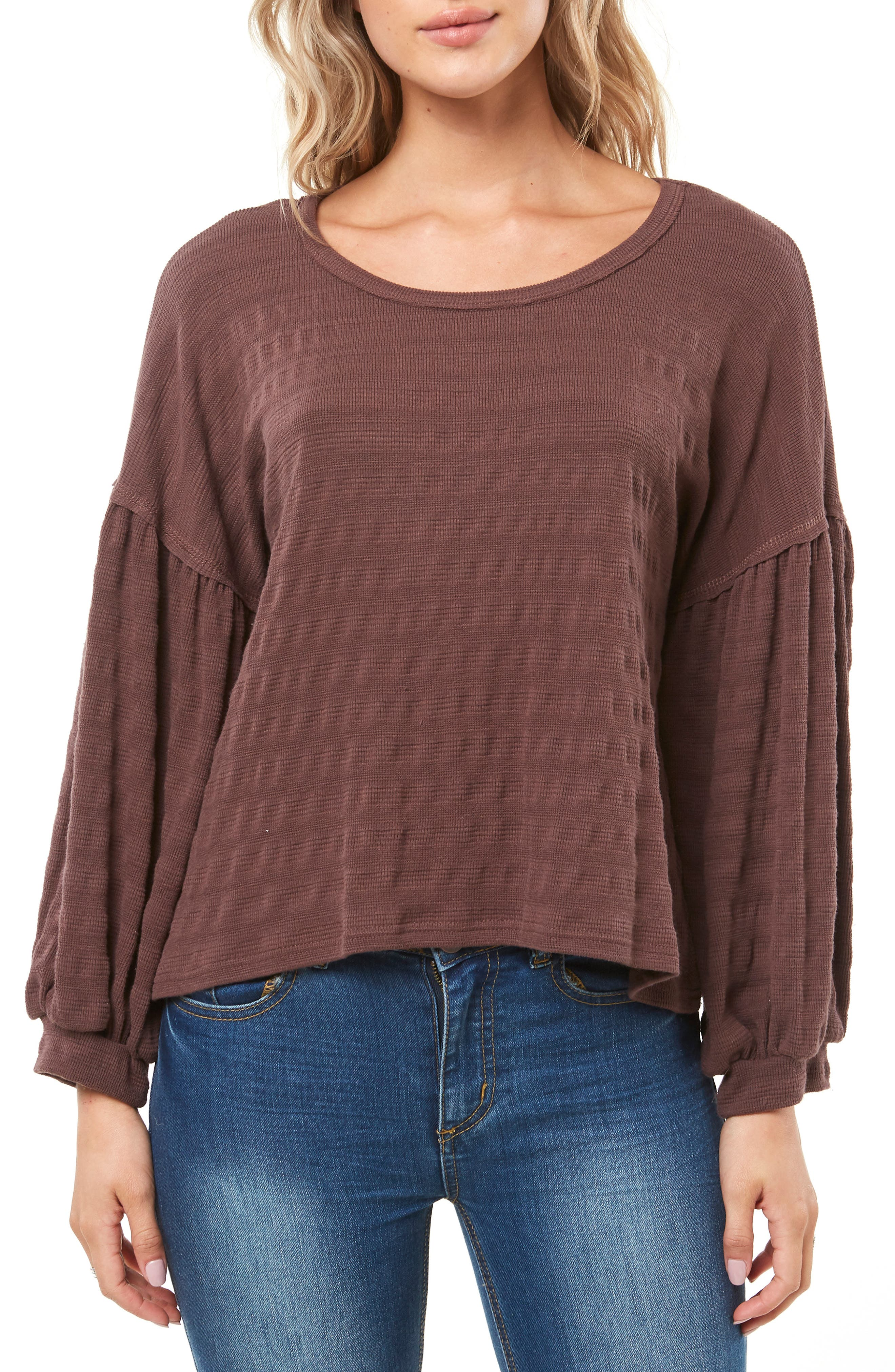 Pacifica Balloon Sleeve Top,                             Main thumbnail 1, color,                             PEPPERCORN