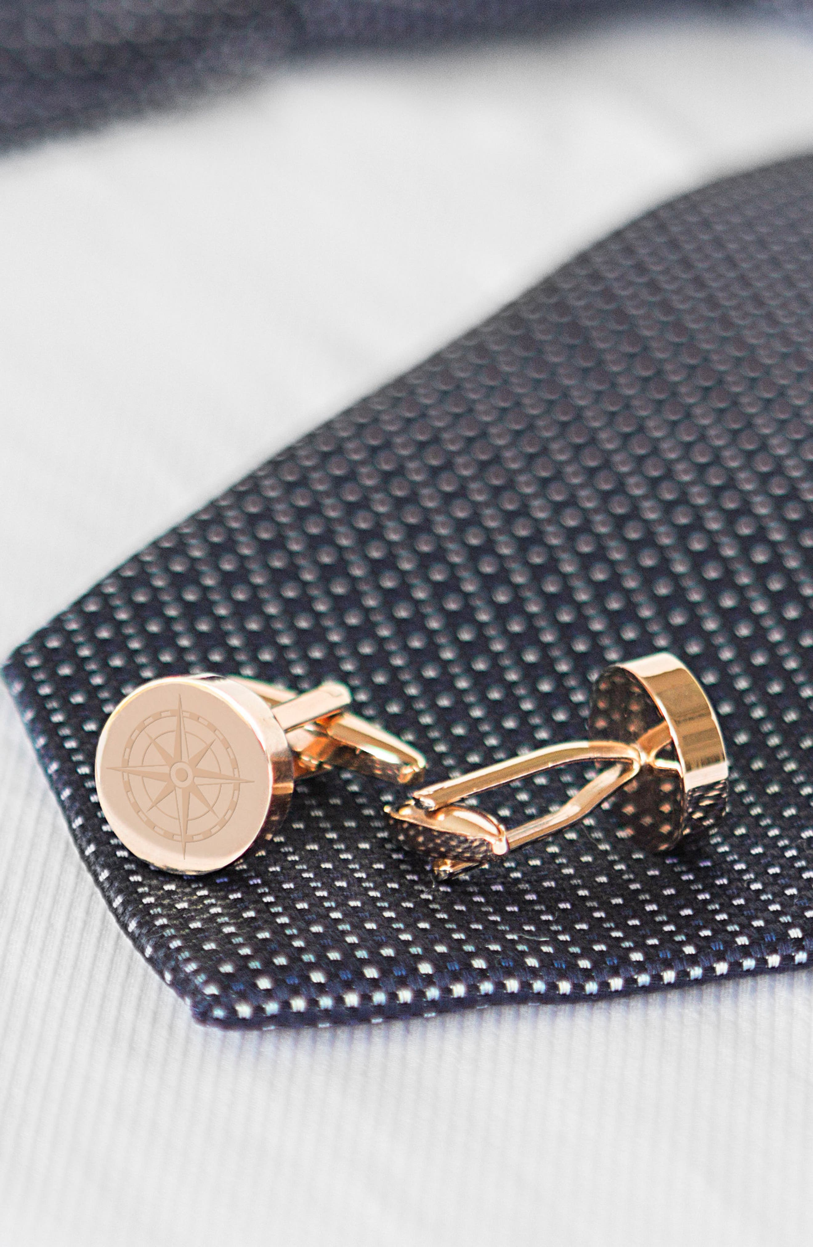 Compass Cuff Links,                             Alternate thumbnail 2, color,                             ROSE GOLD