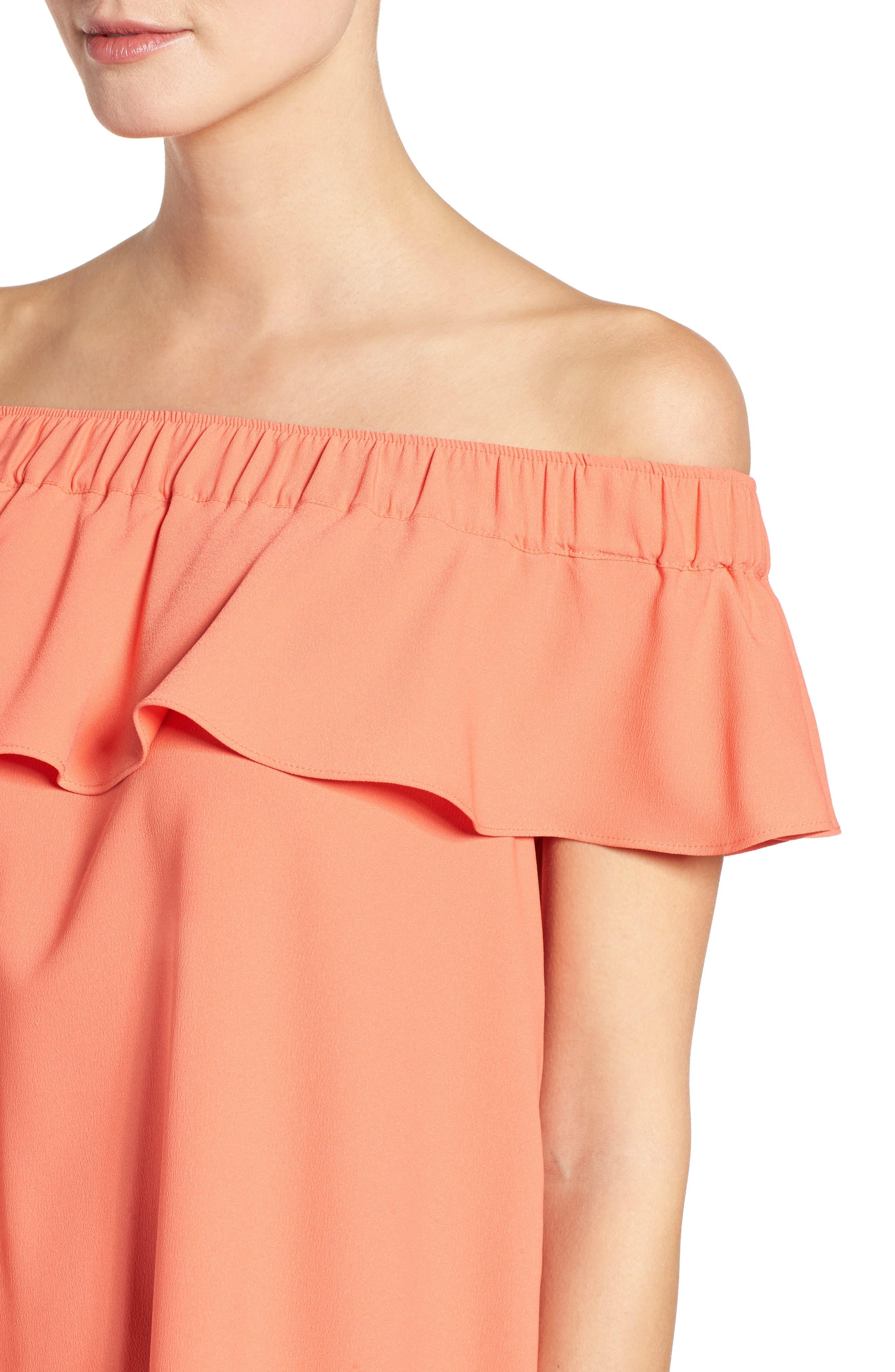 Off the Shoulder Crepe Dress,                             Alternate thumbnail 20, color,
