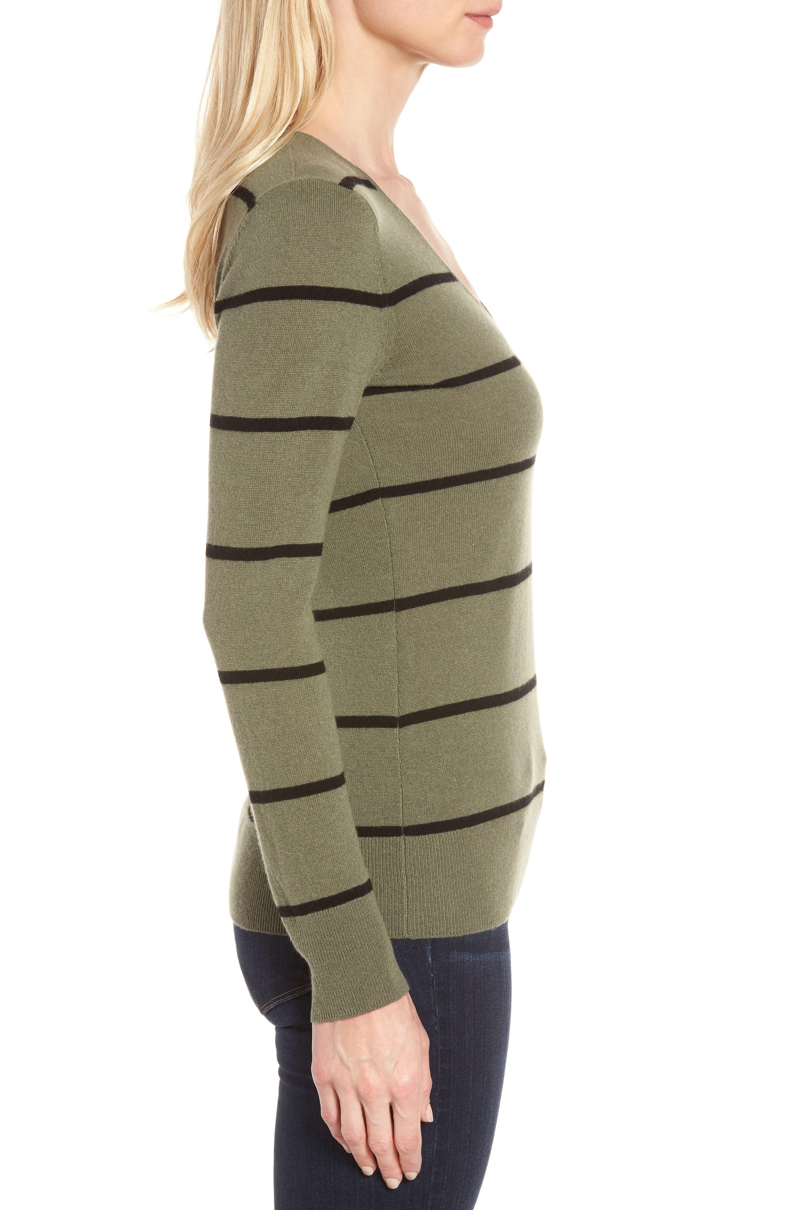 Stripe Cashmere Sweater,                             Alternate thumbnail 3, color,                             315