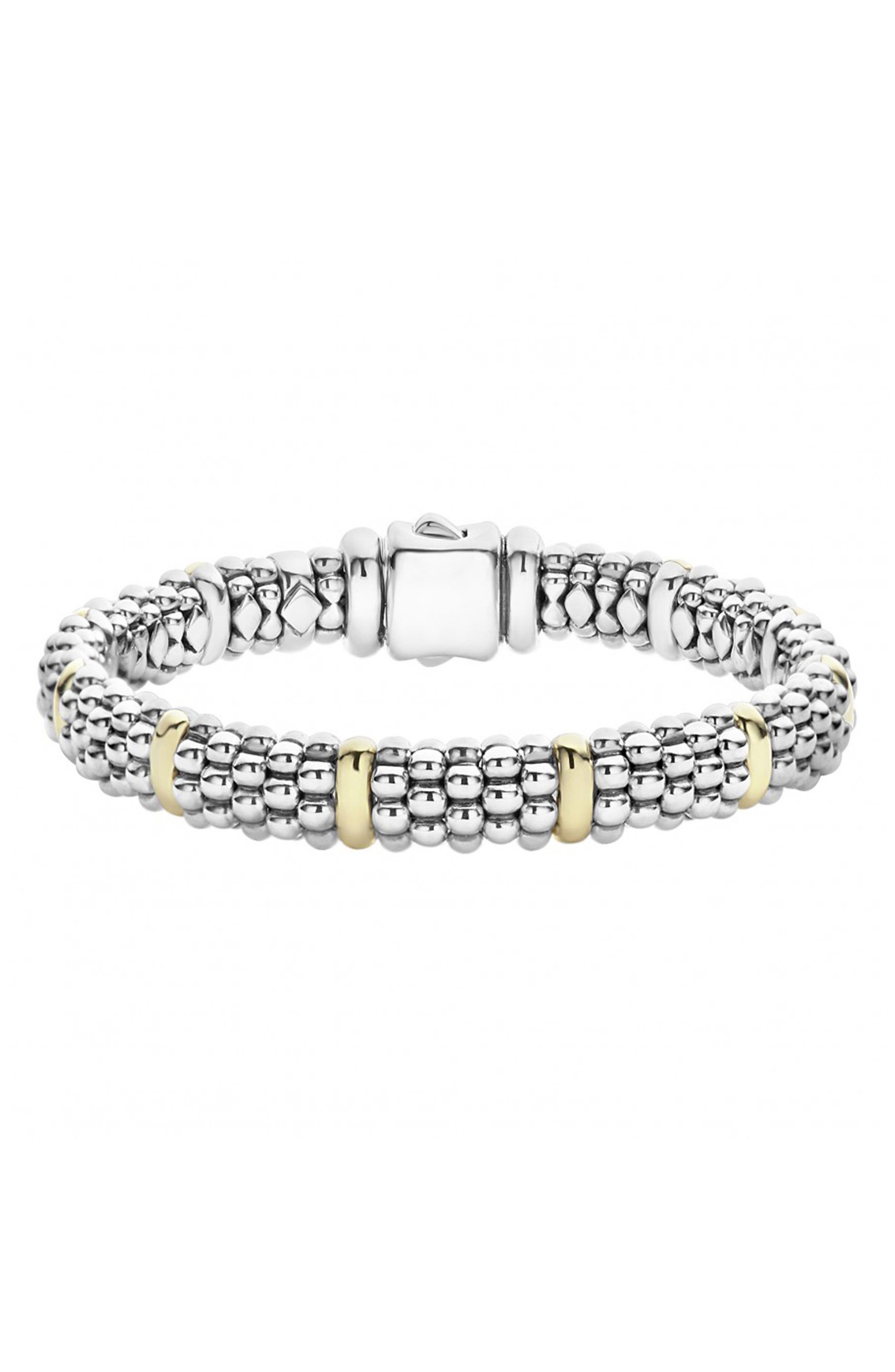 Oval Rope Caviar Bracelet,                             Main thumbnail 1, color,                             SILVER/ GOLD