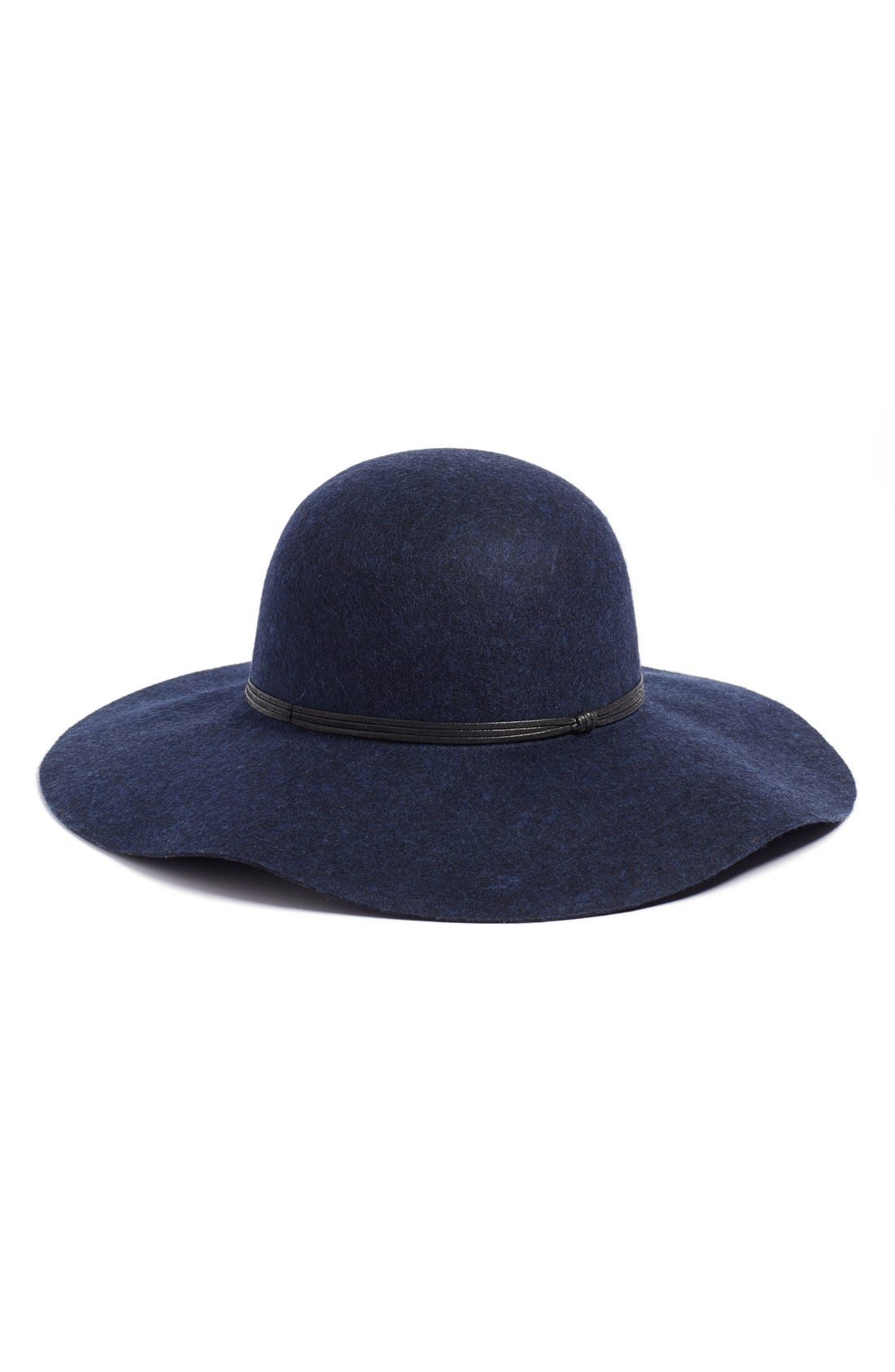 Floppy Wool Hat, Main, color, NAVY HEATHER