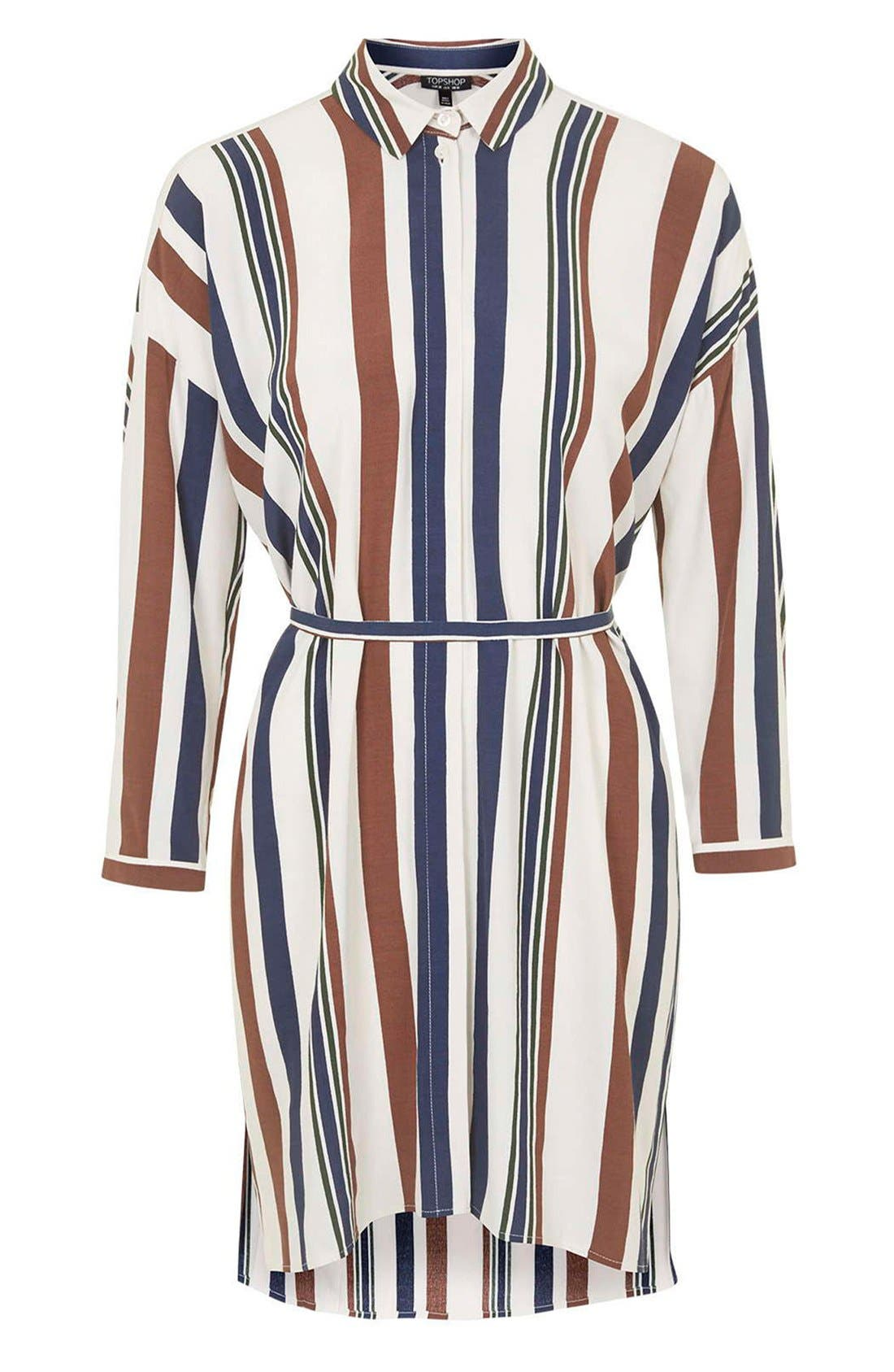Stripe Belted Shirtdress,                             Alternate thumbnail 2, color,                             900