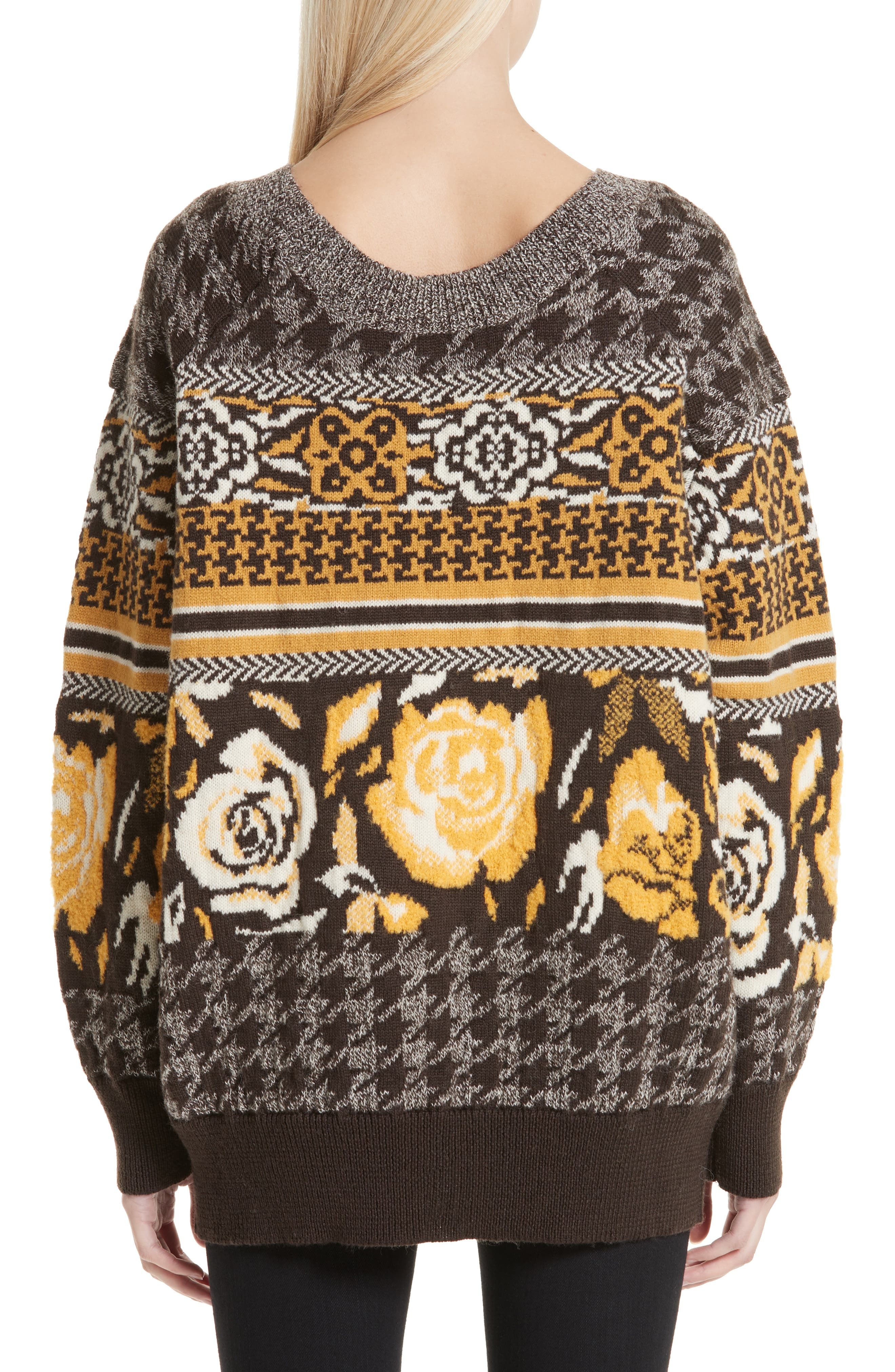 Oversized Sweater,                             Alternate thumbnail 2, color,                             BROWN/ WHITE/ YELLOW
