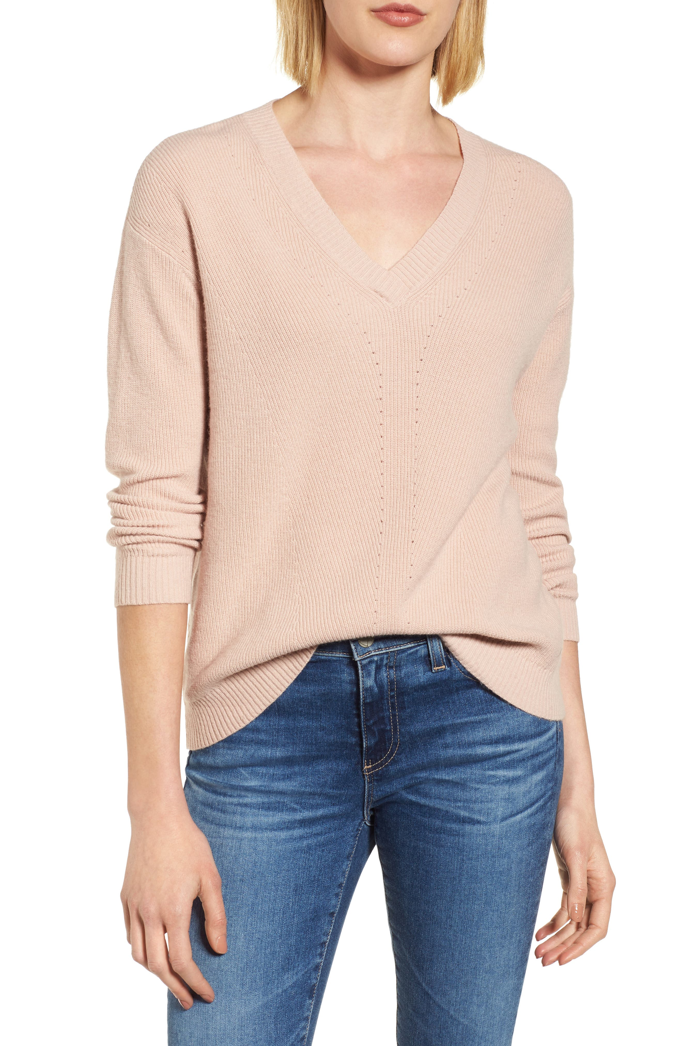 V-Neck Sweater,                             Main thumbnail 1, color,