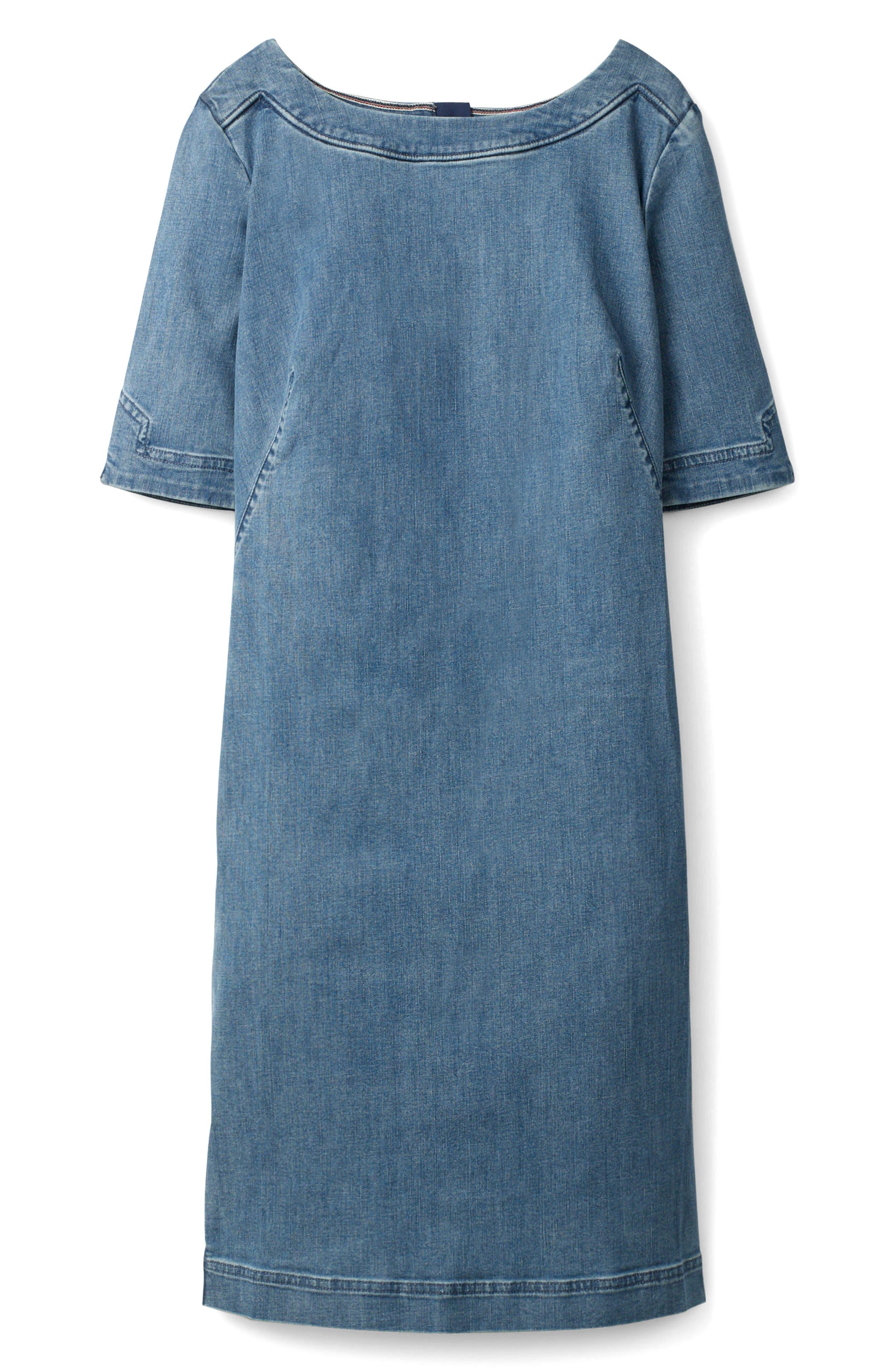Rhea Denim Contrast Dress,                             Alternate thumbnail 5, color,                             MID VINTAGE WITH SIDE STRIPE