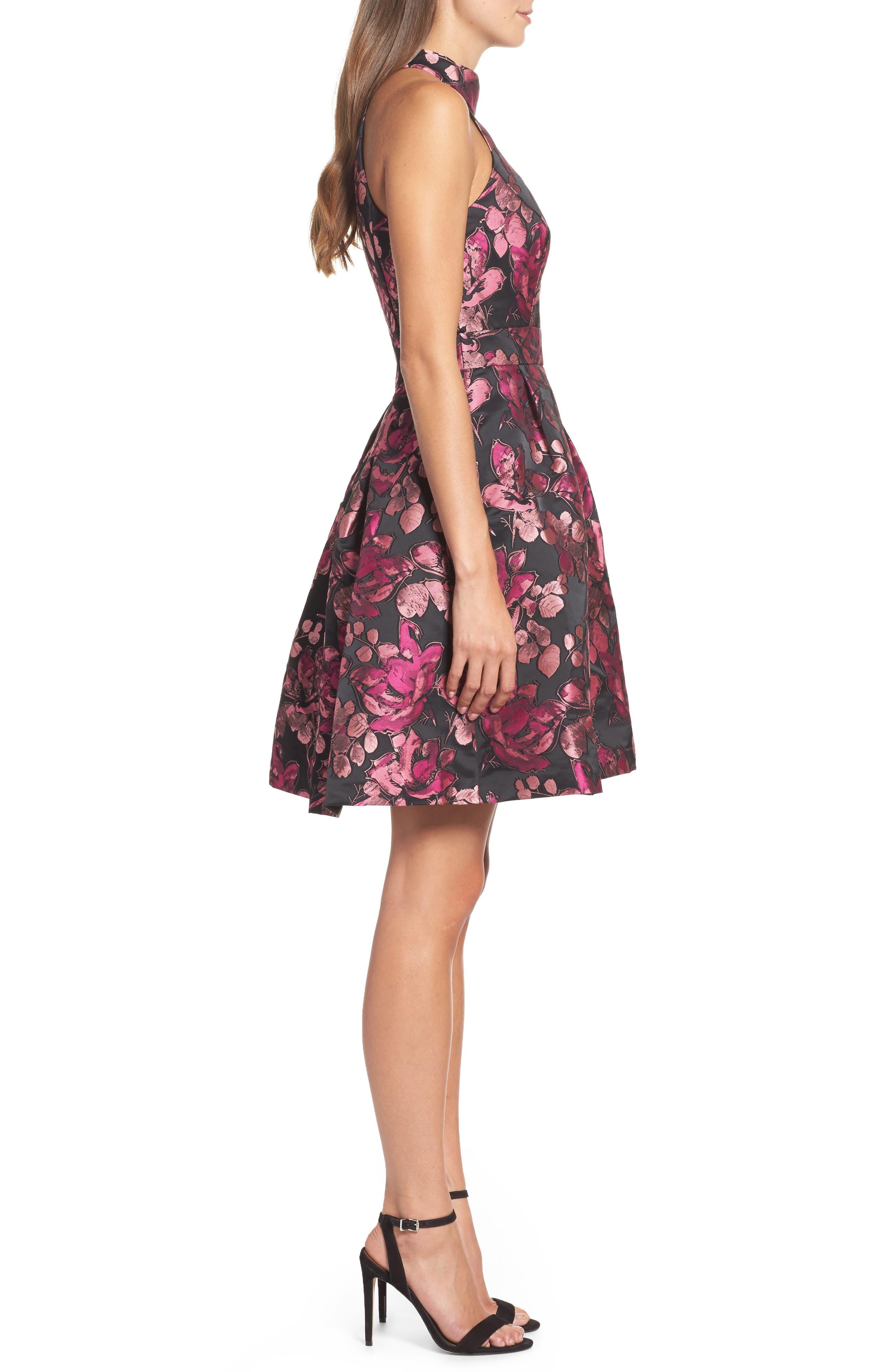 Floral Halter Fit & Flare Dress,                             Alternate thumbnail 3, color,                             650