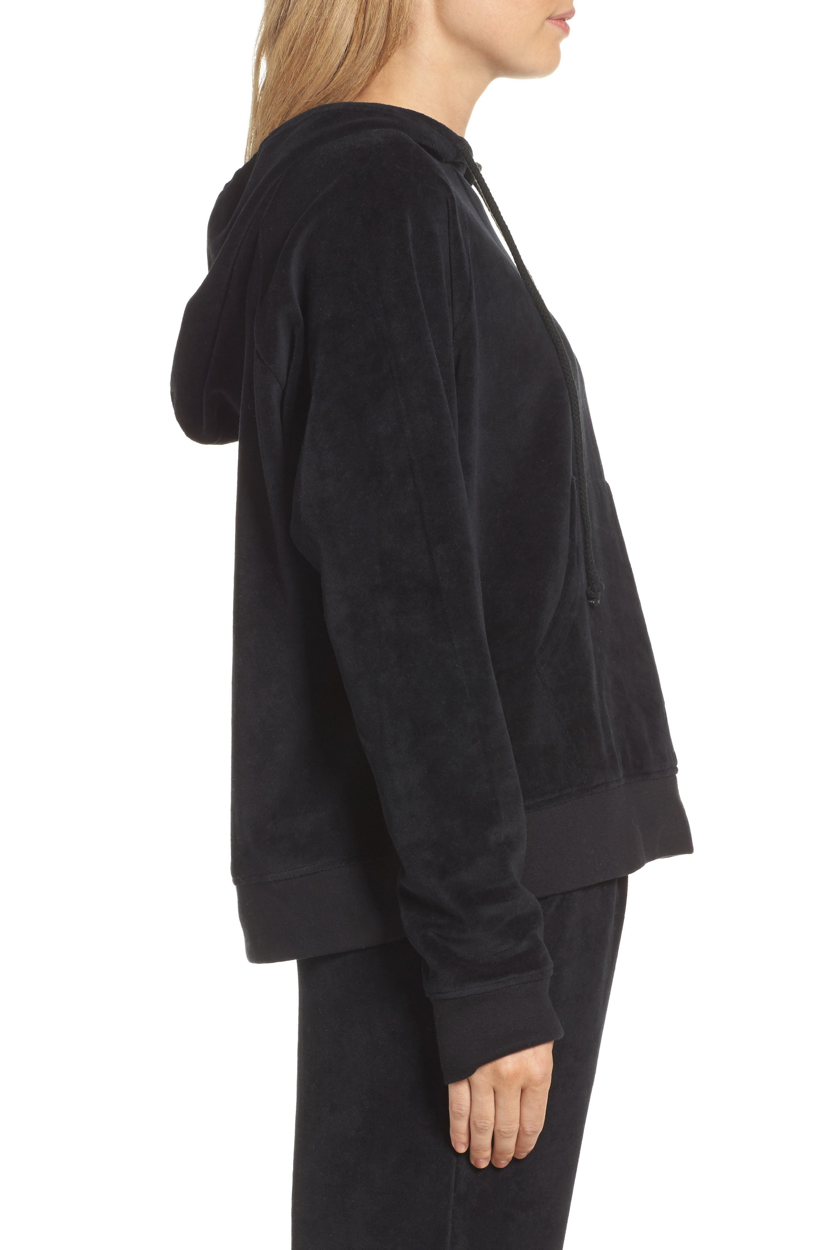 Blonde Embroidered Velour Hoodie,                             Alternate thumbnail 3, color,