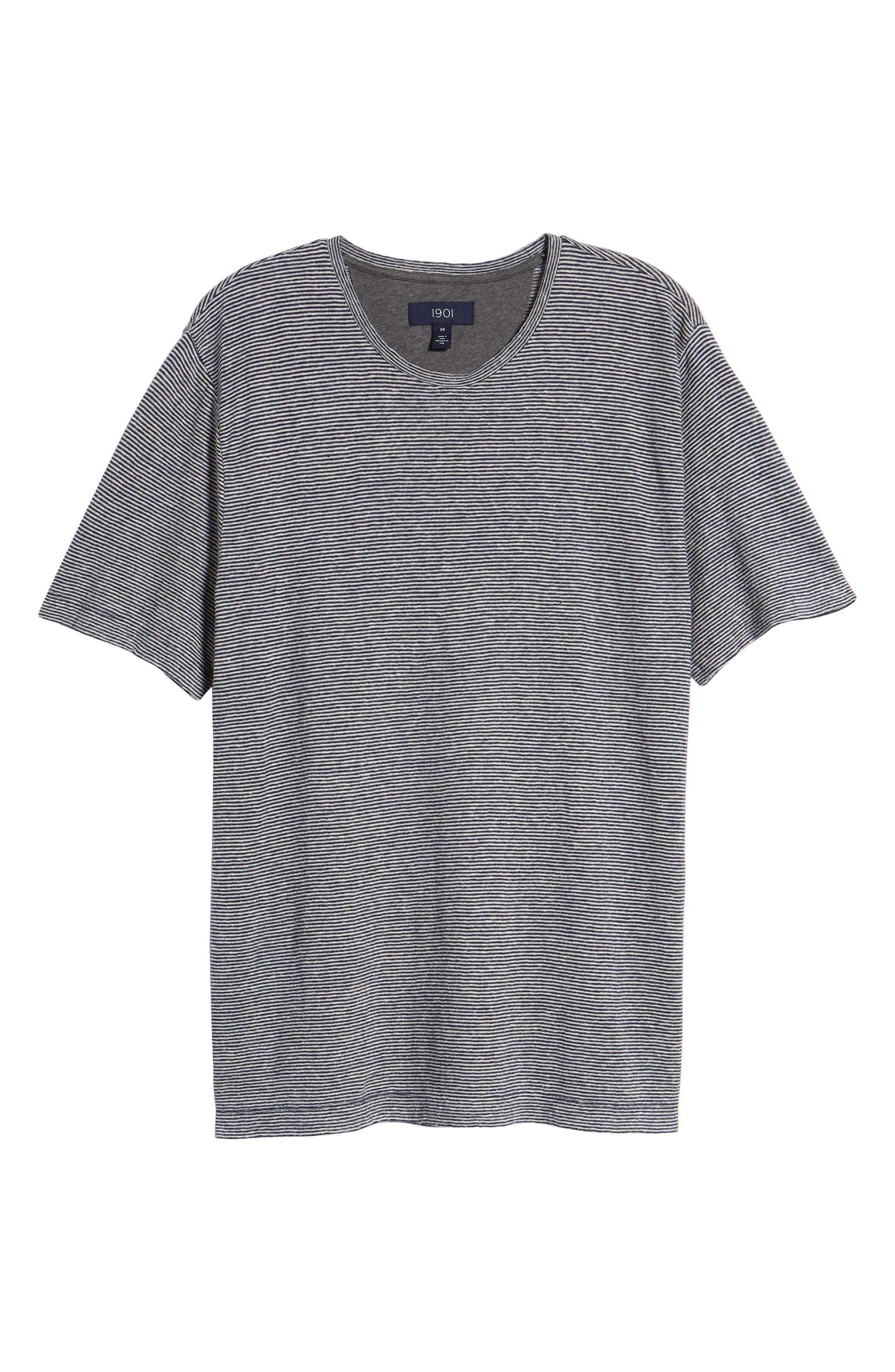 Feeder Stripe Linen Blend Jersey T-Shirt,                             Alternate thumbnail 6, color,                             410