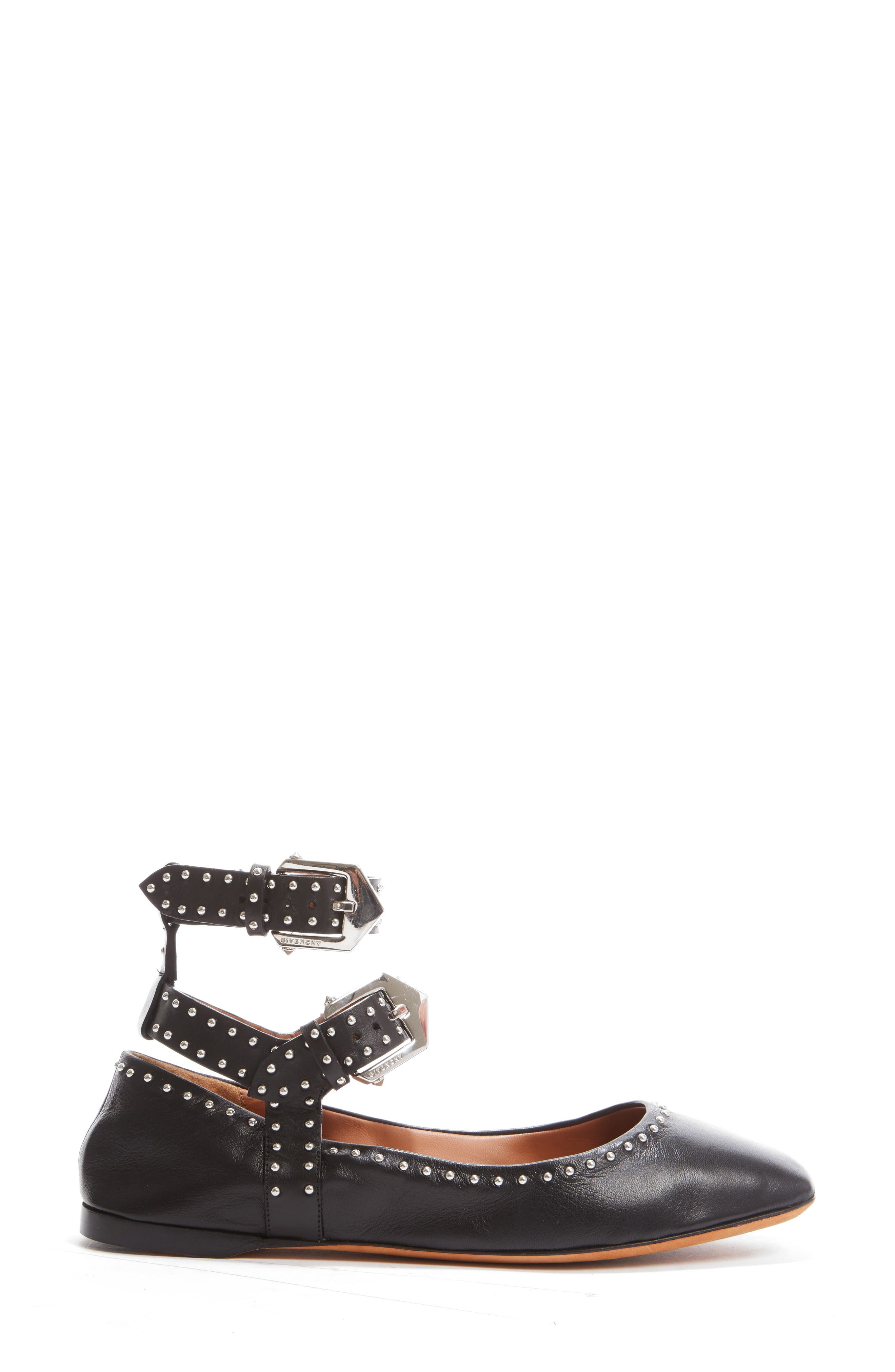 Studded Ankle Strap Flat,                             Alternate thumbnail 4, color,