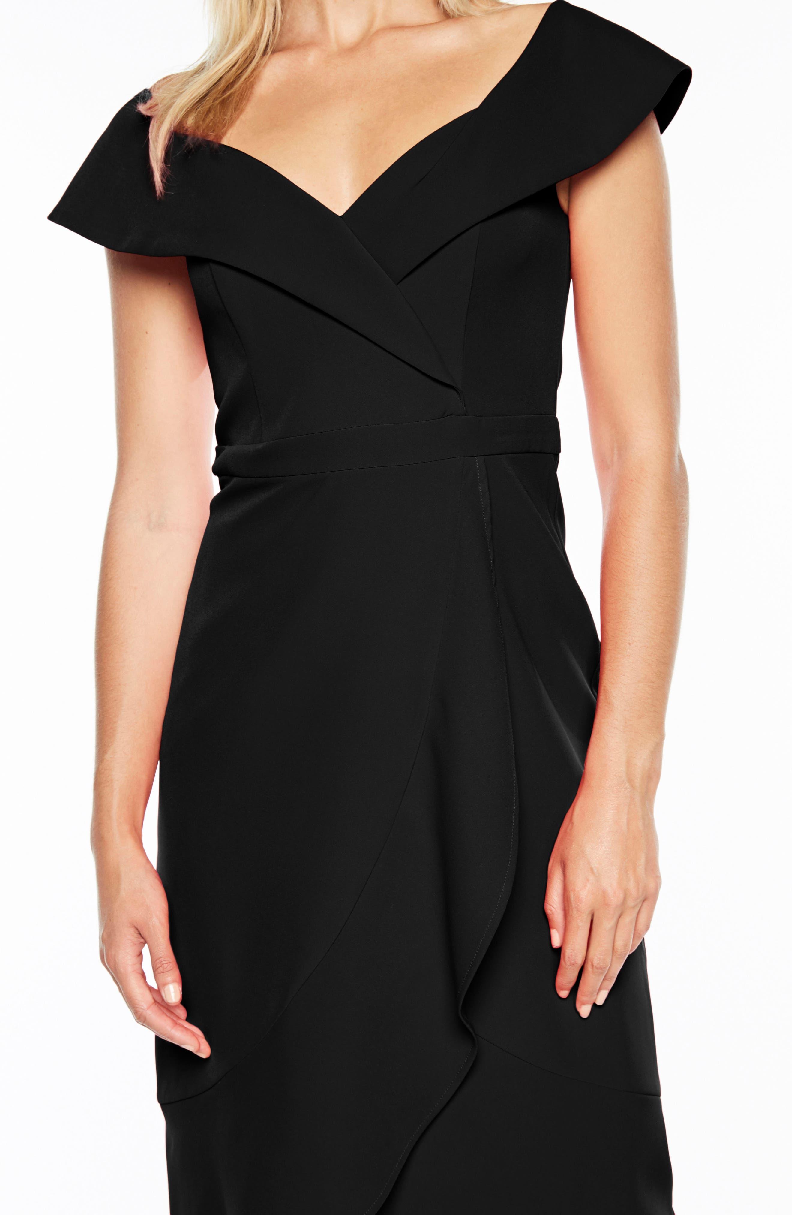 Bella Tulip Hem Dress,                             Alternate thumbnail 4, color,                             BLACK
