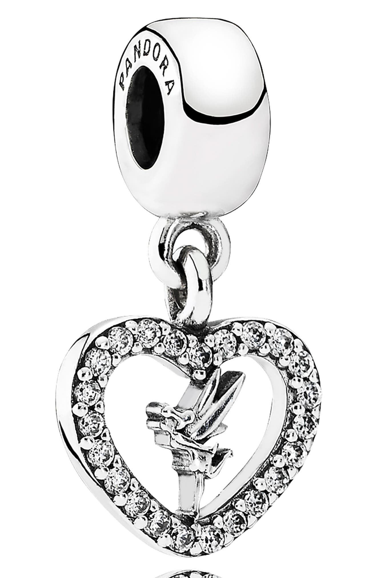 Disney Love Tinker Bell Dangle Charm, Main, color, SILVER
