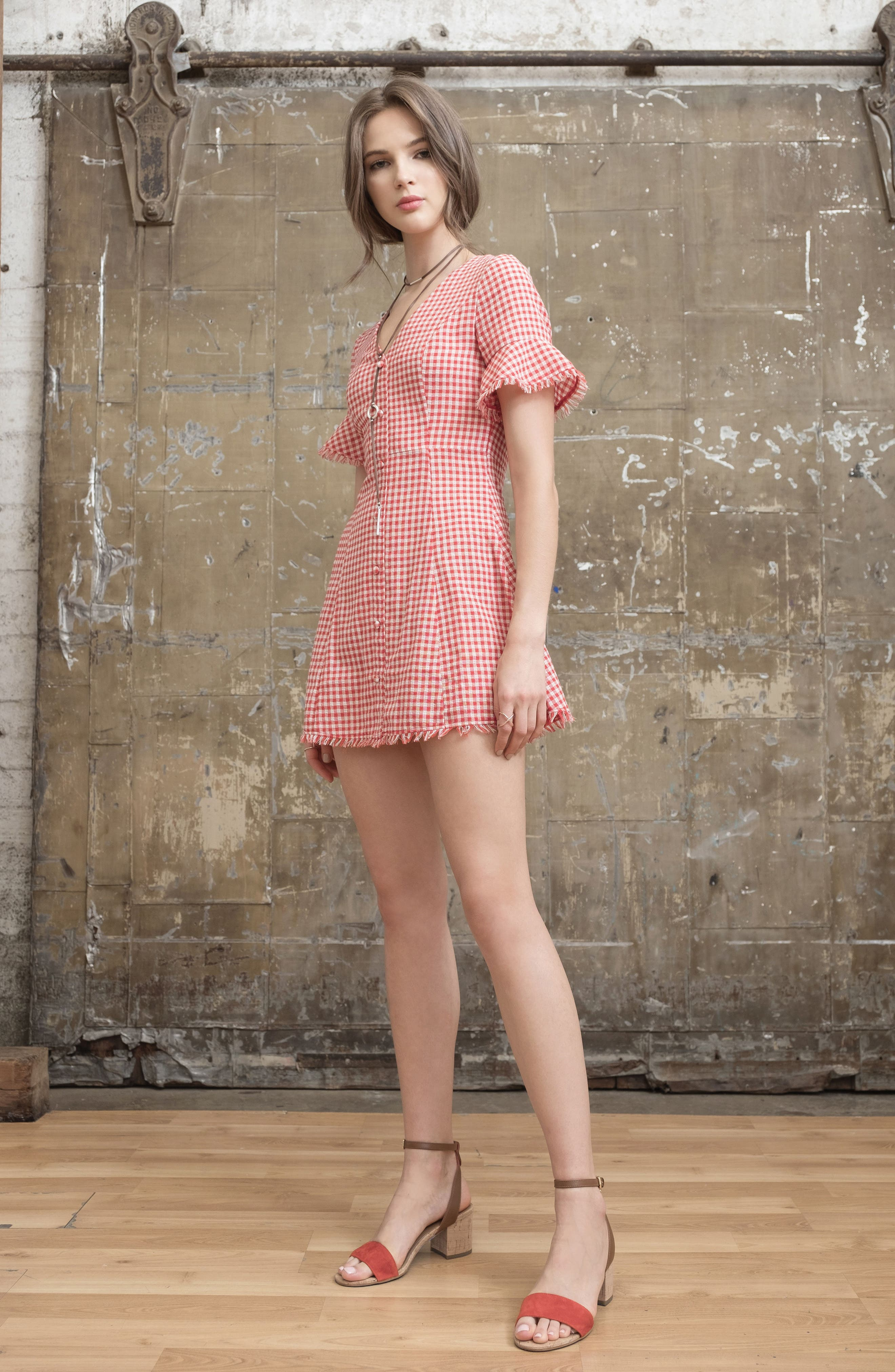 Gingham Ruffle Sleeve Dress,                             Alternate thumbnail 7, color,                             600