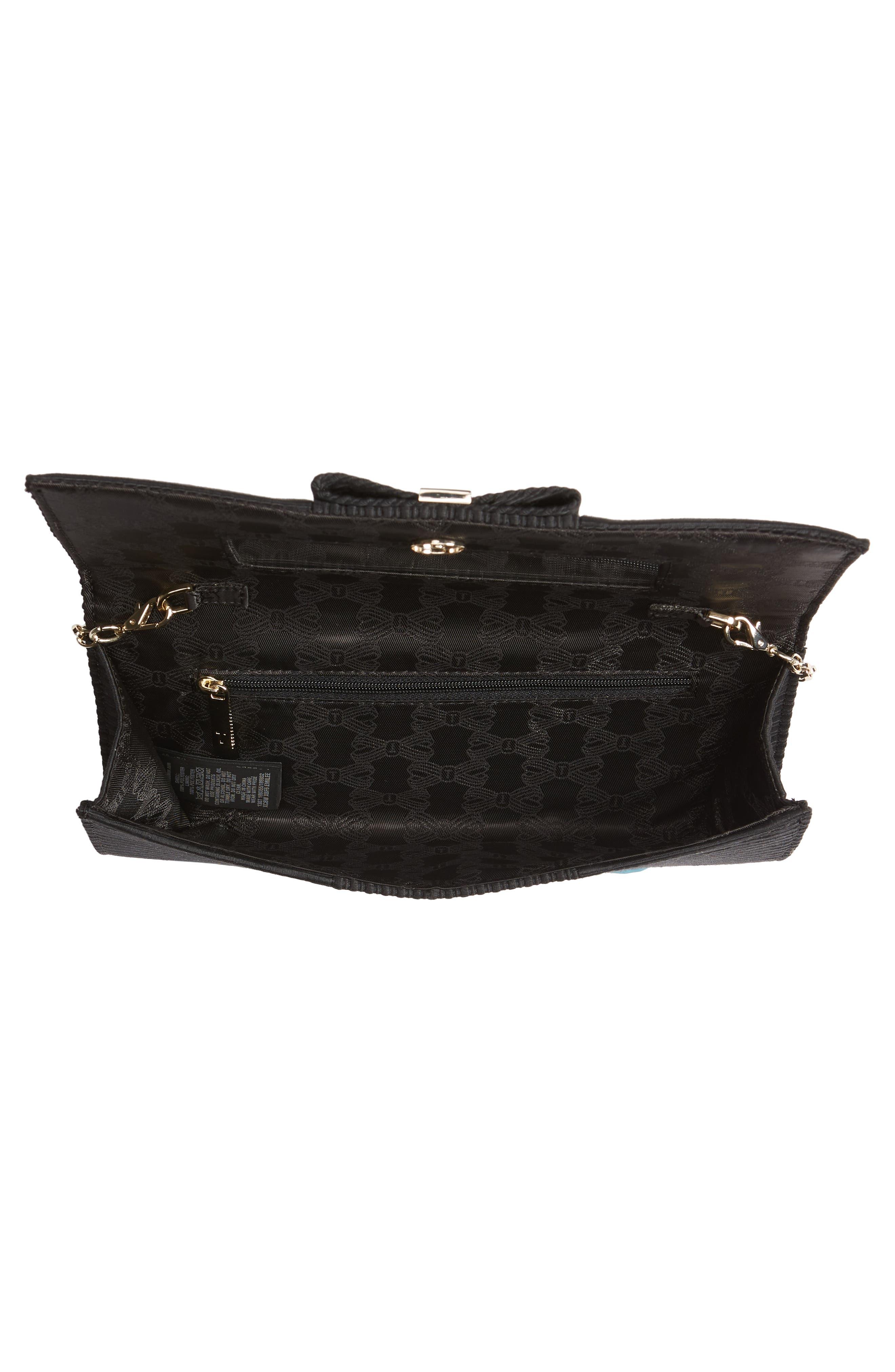 Emilee Bow Evening Bag,                             Alternate thumbnail 4, color,                             BLACK