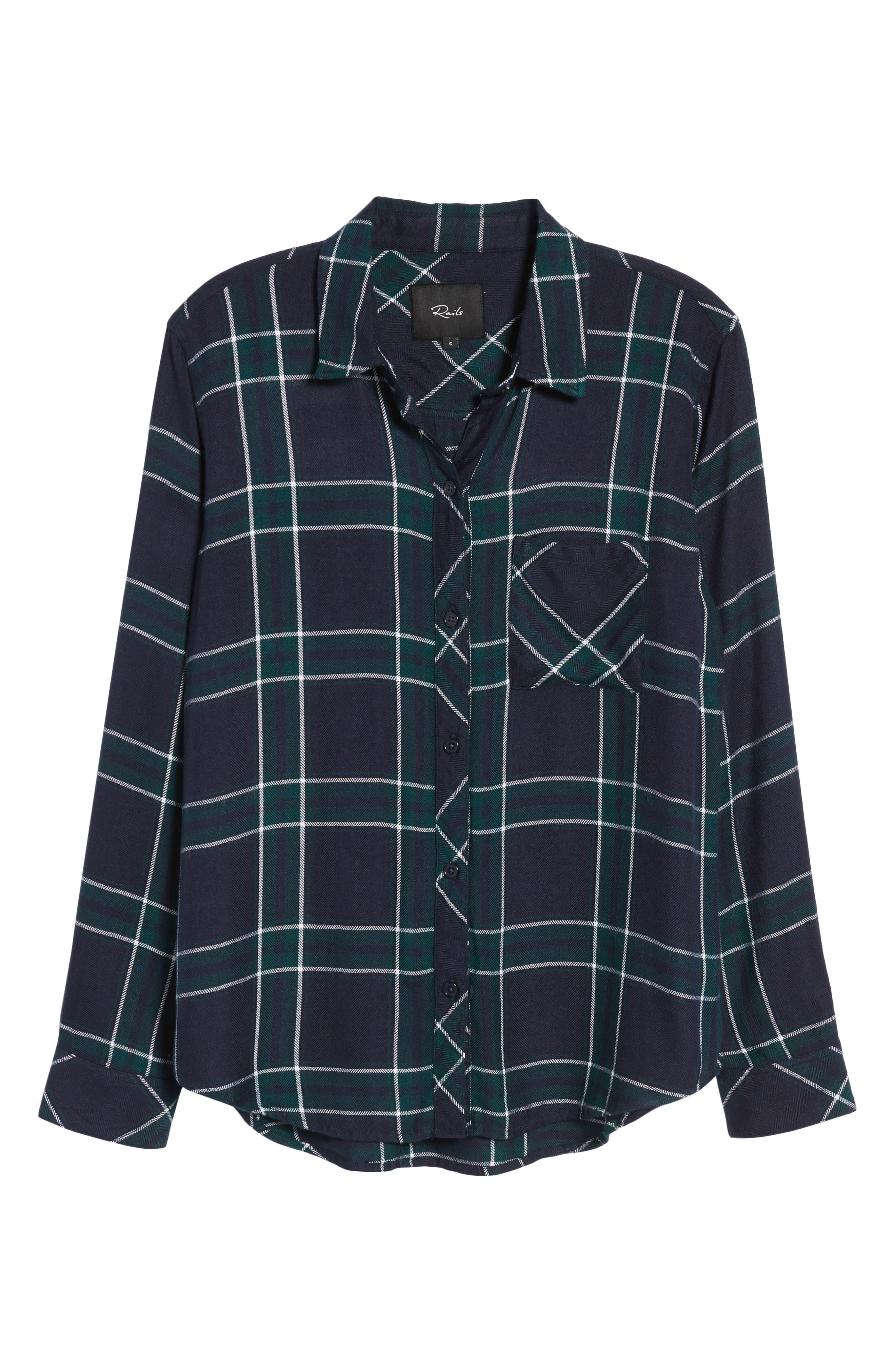 Hunter Plaid Shirt,                             Alternate thumbnail 7, color,                             MIDNIGHT FOREST WHITE